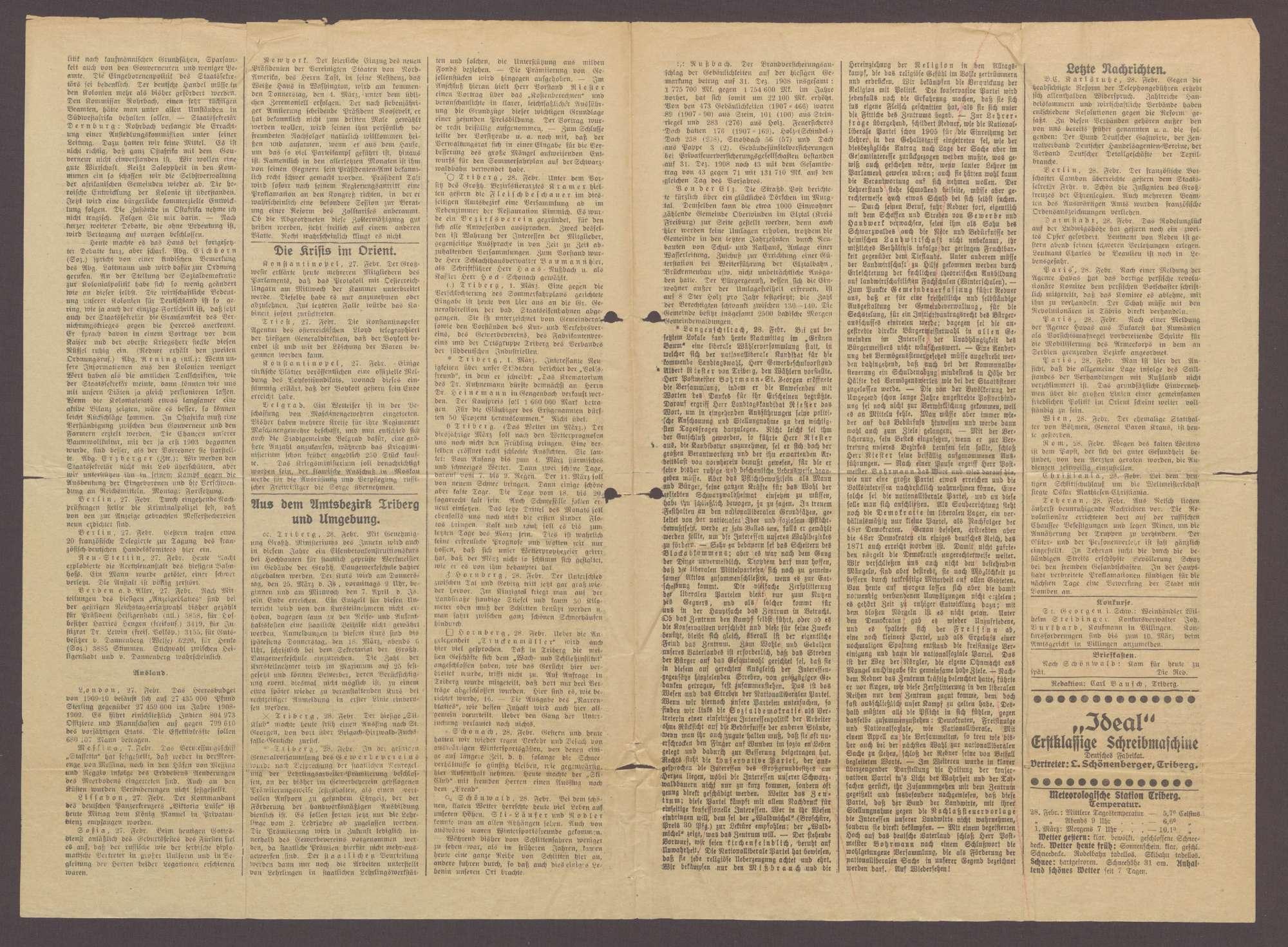 Echo vom Wald - Triberger Zeitung Nr. 47 vom 1.3.1909, Bild 2