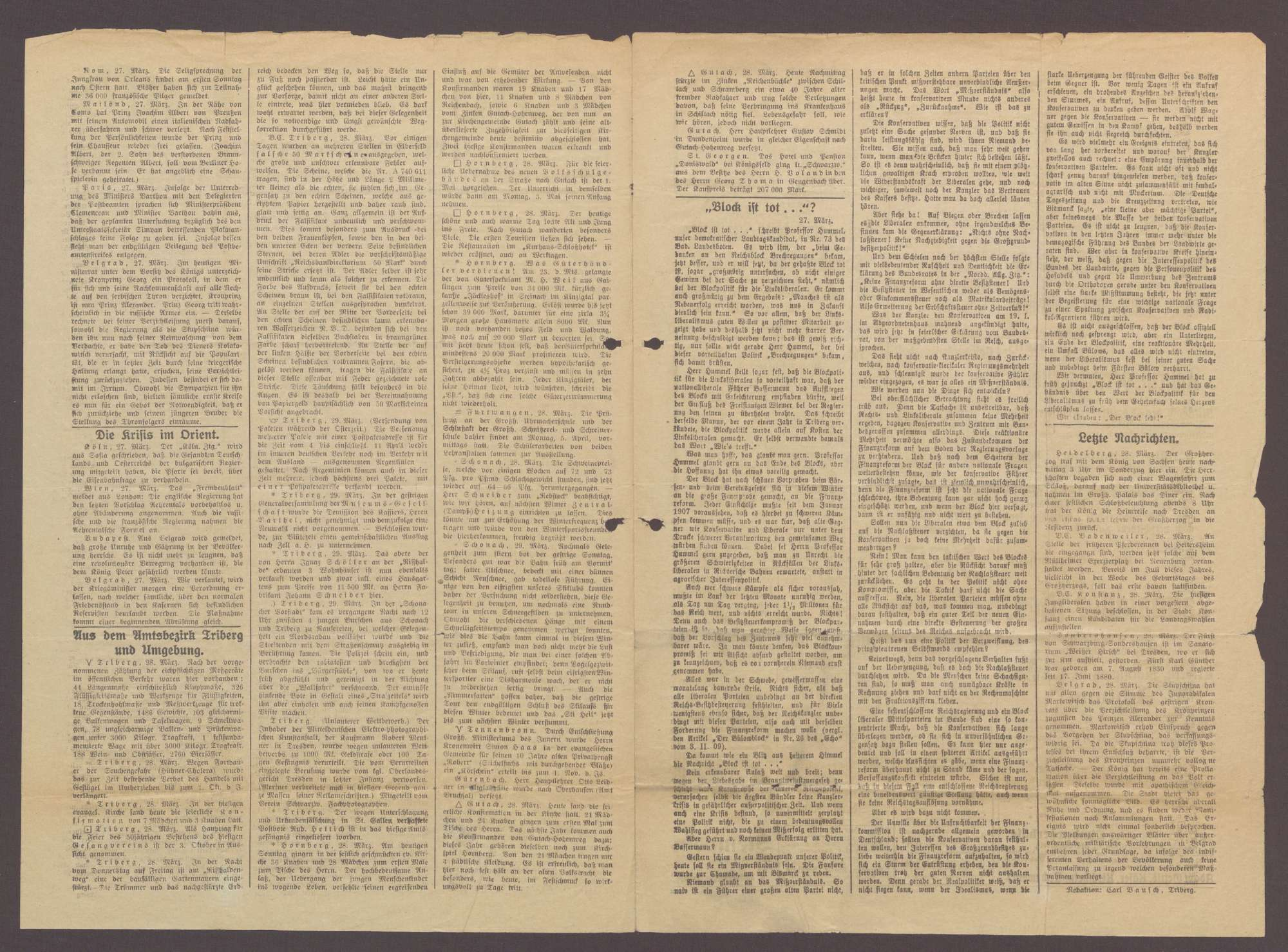 Echo vom Wald - Triberger Zeitung Nr. 69 vom 29.3.1909, Bild 2