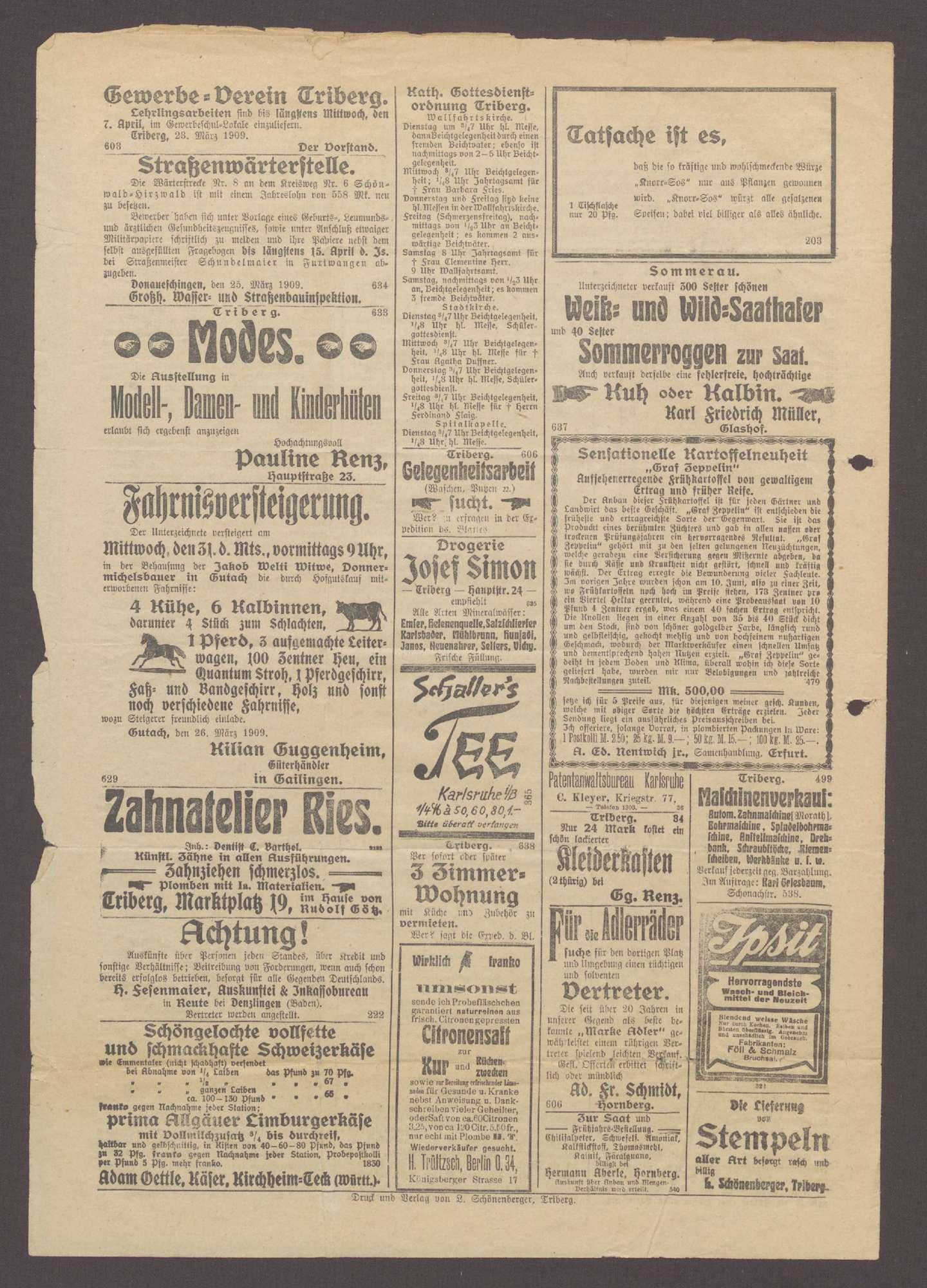 Echo vom Wald - Triberger Zeitung Nr. 69 vom 29.3.1909, Bild 3