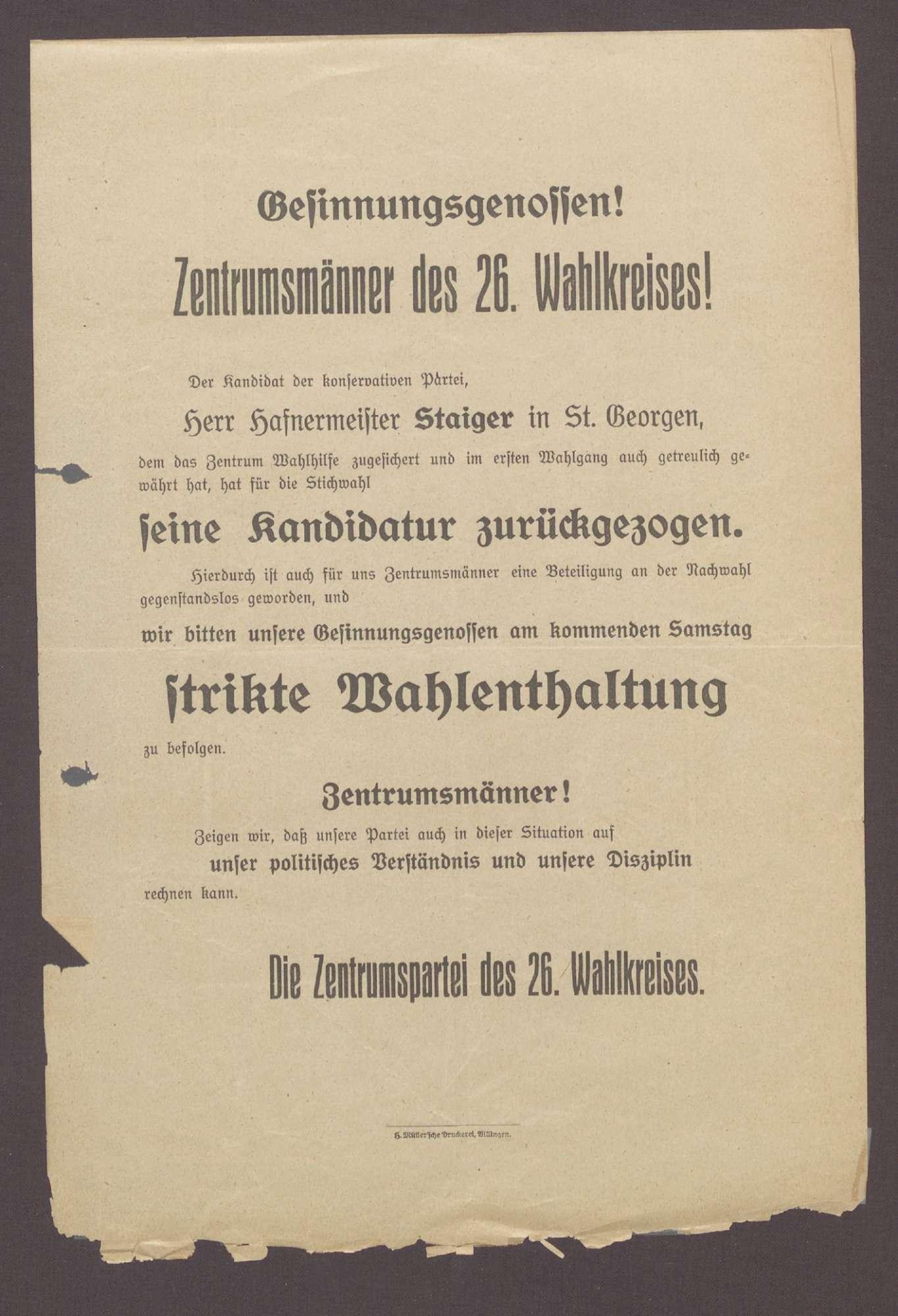 "Flugblatt: ""Gesinnungsgenossen! Zentrumsmänner des 26. Wahlkreises!"", Wahldrucksache des Zentrums, H. Müller"