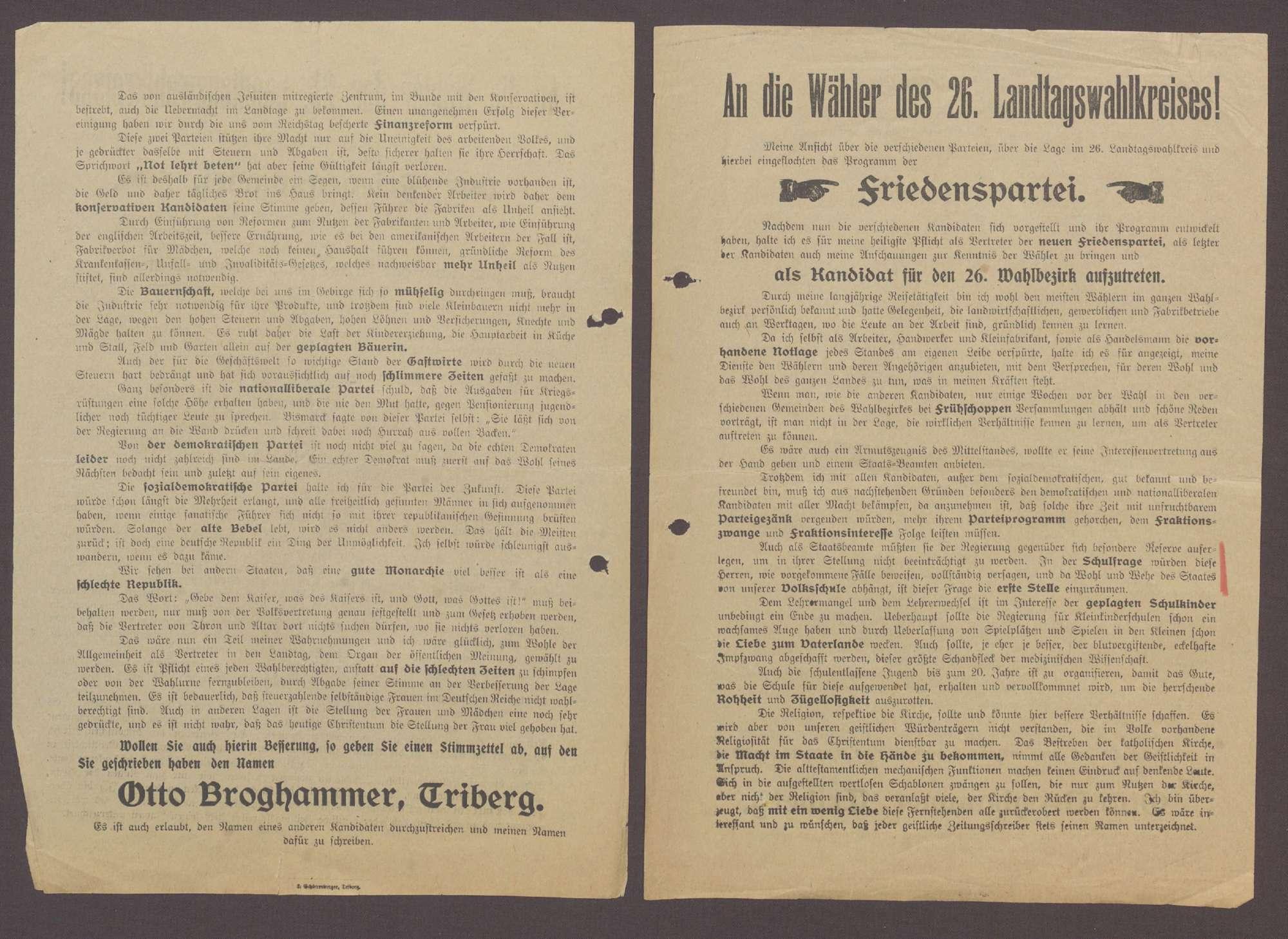 """Flugblatt: """"An die Wähler des 26. Landtagswahlkreises...Otto Broghammer"""", Friedenspartei, Schönnenberger, Triberg, Bild 2"""