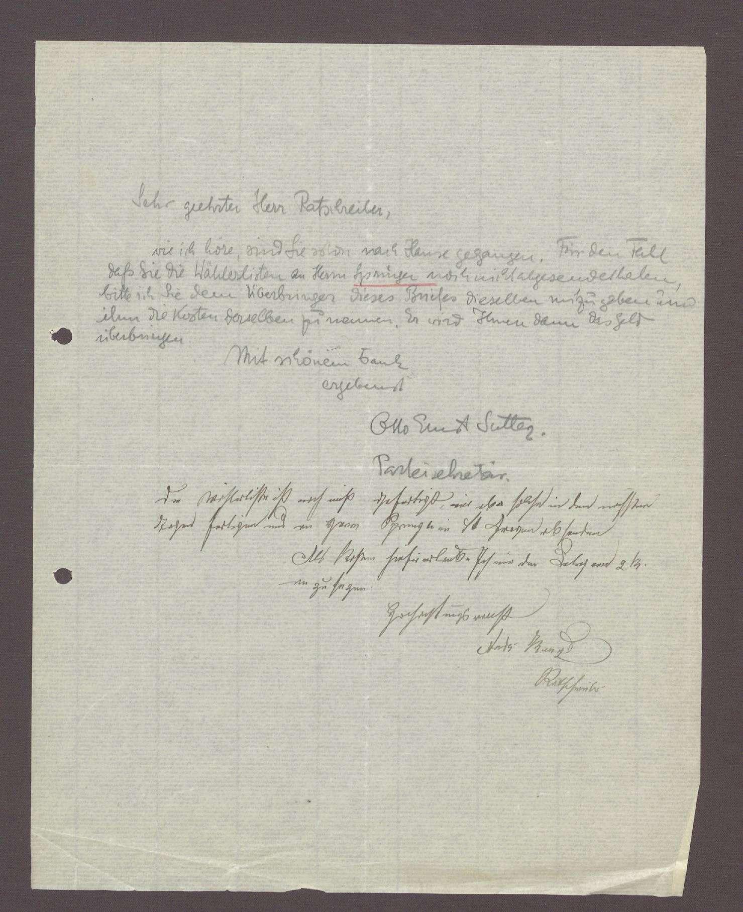 Schreiben von Otto Ernst Sutter, Parteisekretär der DVP, Karlsruhe, an einen Ratsschreiber: Übergabe der Wählerlisten, 1 Schreiben (Durchschlag), Bild 1