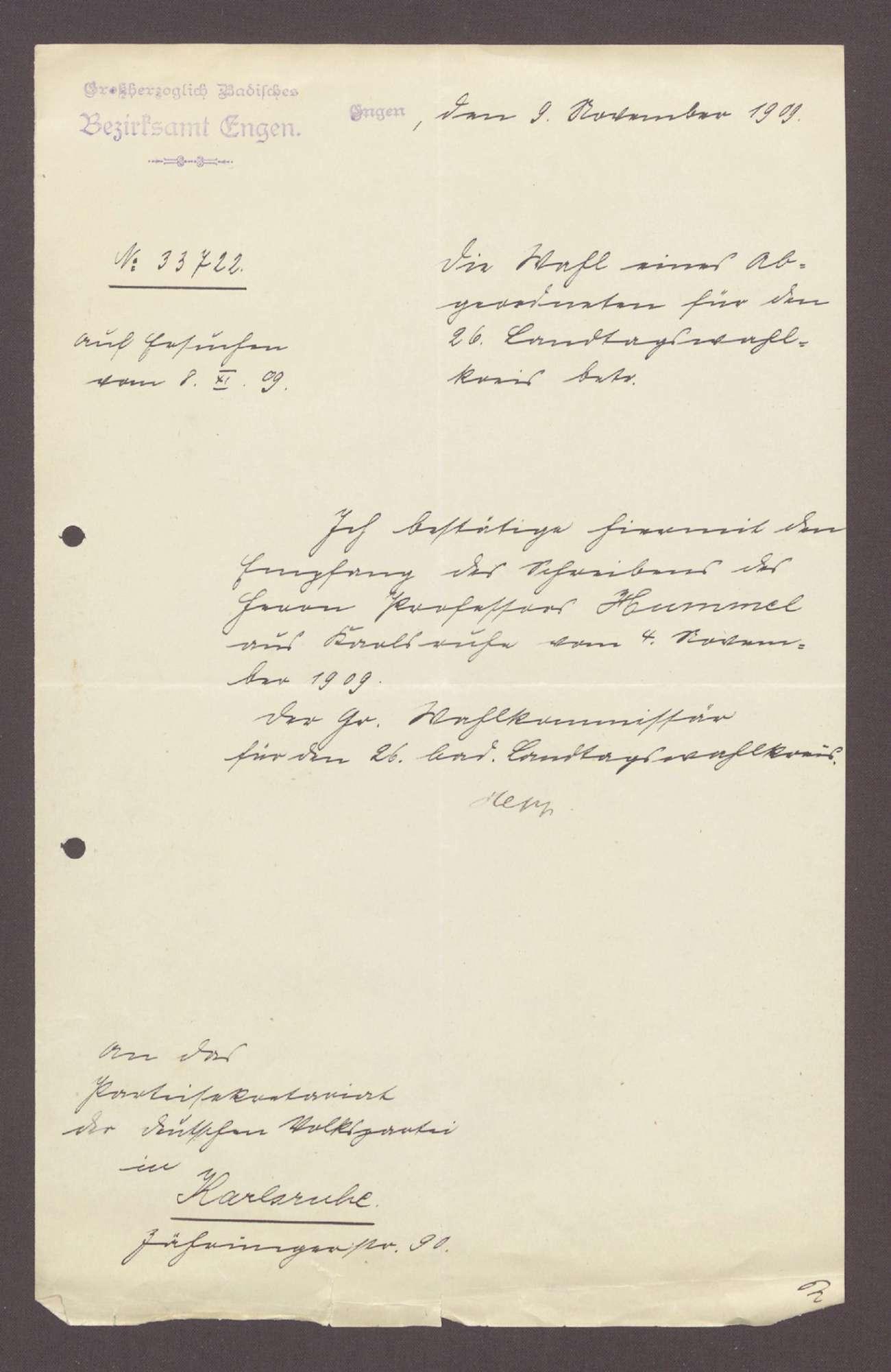 Schreiben vom Bezirksamt Engen an das Parteisekretariat der Deutschen Volkspartei: Eingangsbestätigung eines Schreiben von Hermann Hummel, 1 Schreiben, Bild 1