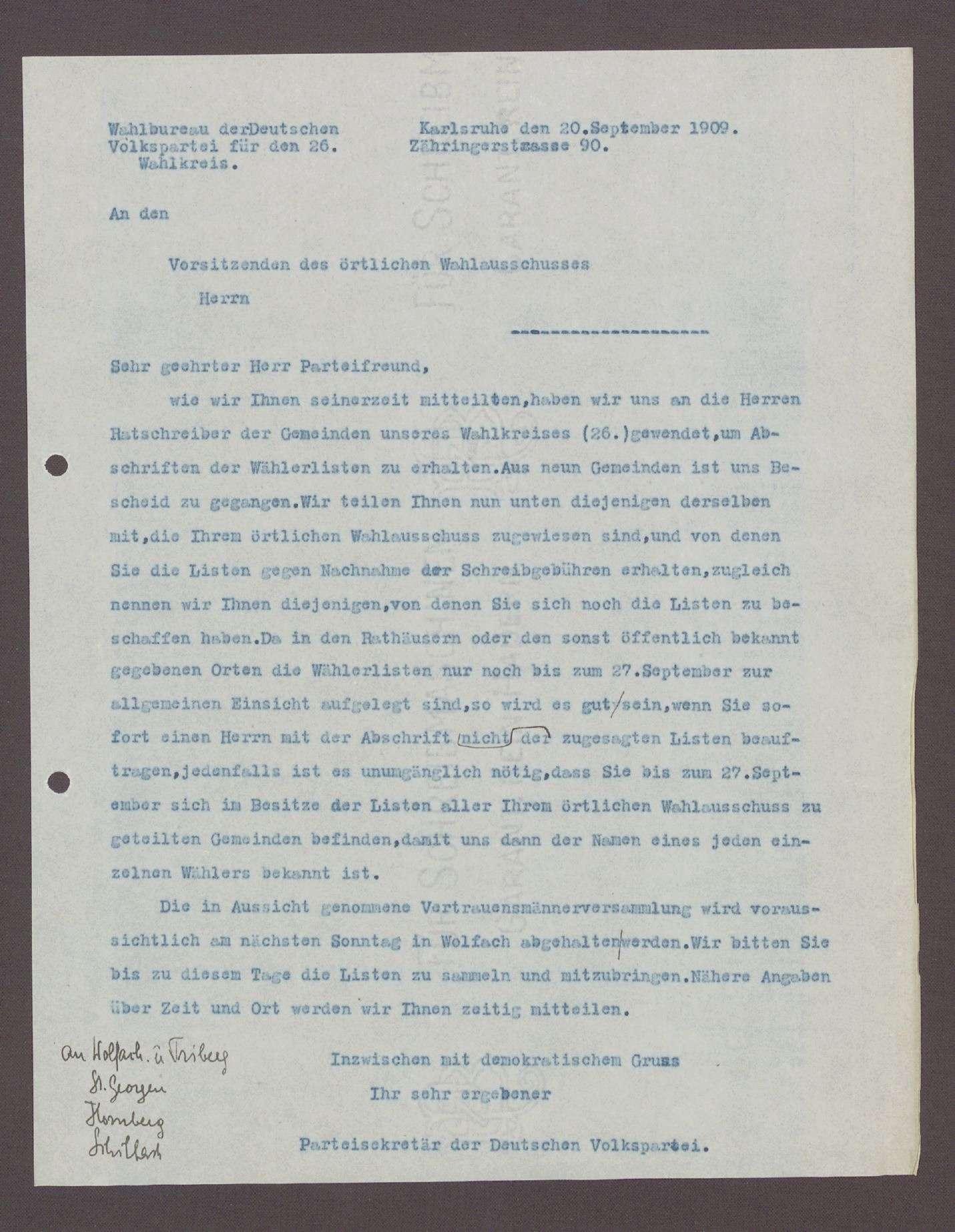 Schreiben des Parteisekretärs der DVP, Karlsruhe, an die Vorsitzenden der örtlichen Wahlausschüsse: Abschrift der Wählerlisten und Vertrauensmännerversammlung in Wolfach, 1 Schreiben (Durchschlag), Bild 1