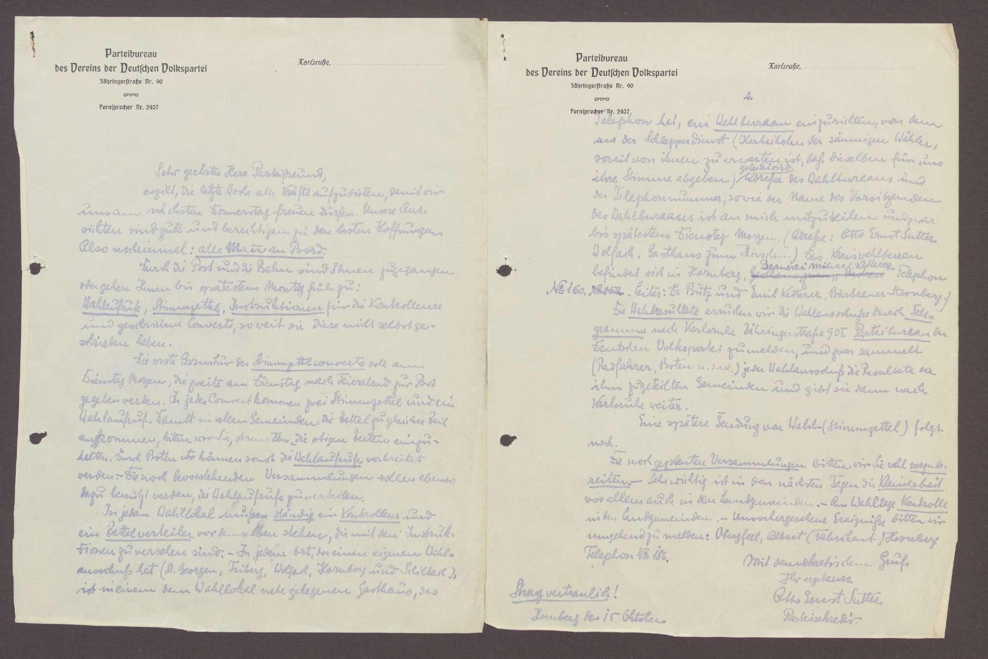 Schreiben von Otto Ernst Sutter, Parteisekretär der DVP, Hornberg, an einen unbekannten Parteifreund: Ablauf der Landtagswahl und Mobilisierung der letzten Kräfte für den Wahlkampf, 1 Schreiben, Bild 1
