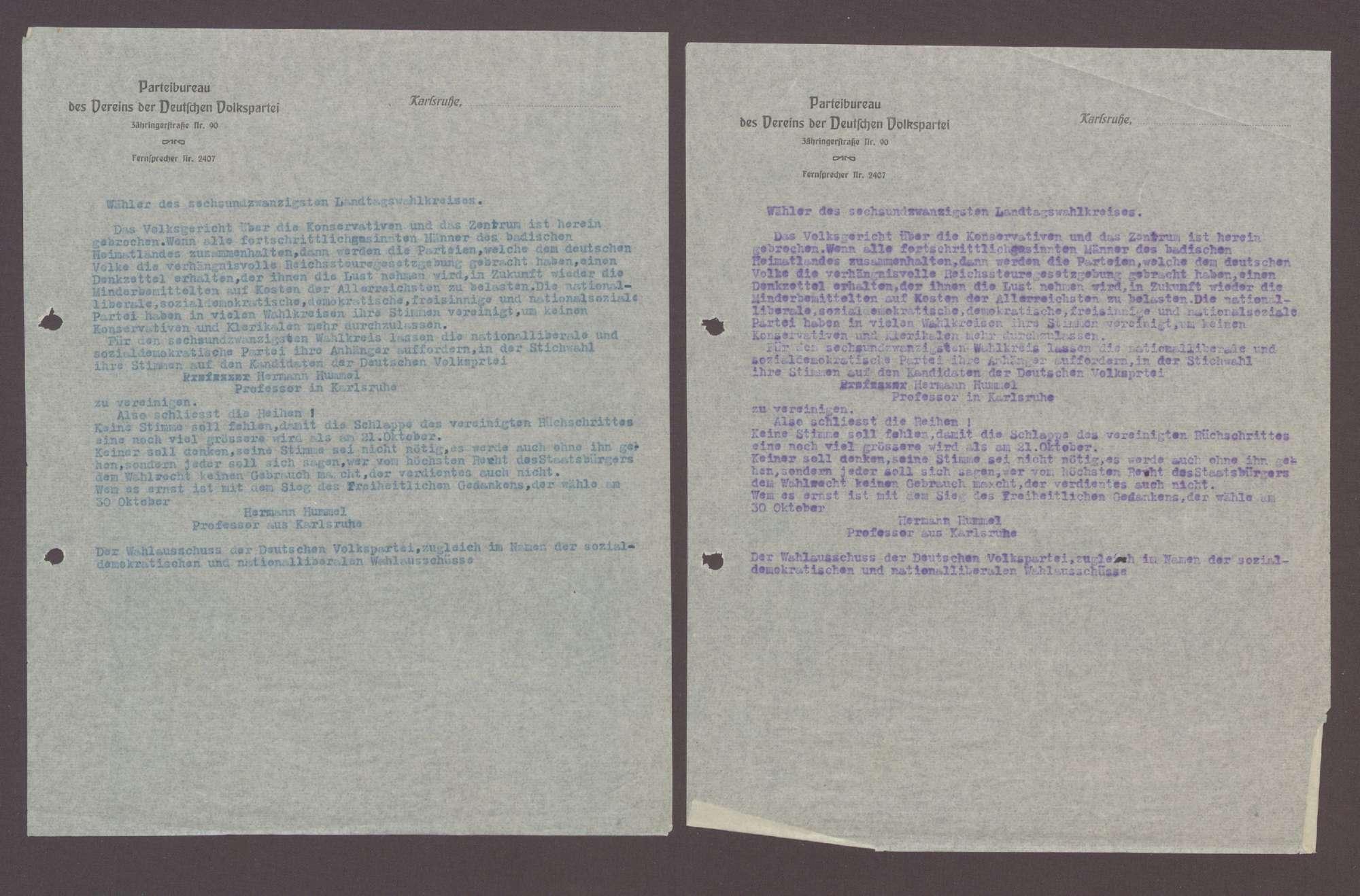 Wahlaufruf für Hermann Hummel, 1 Schreiben (2 Durchschläge), Bild 1