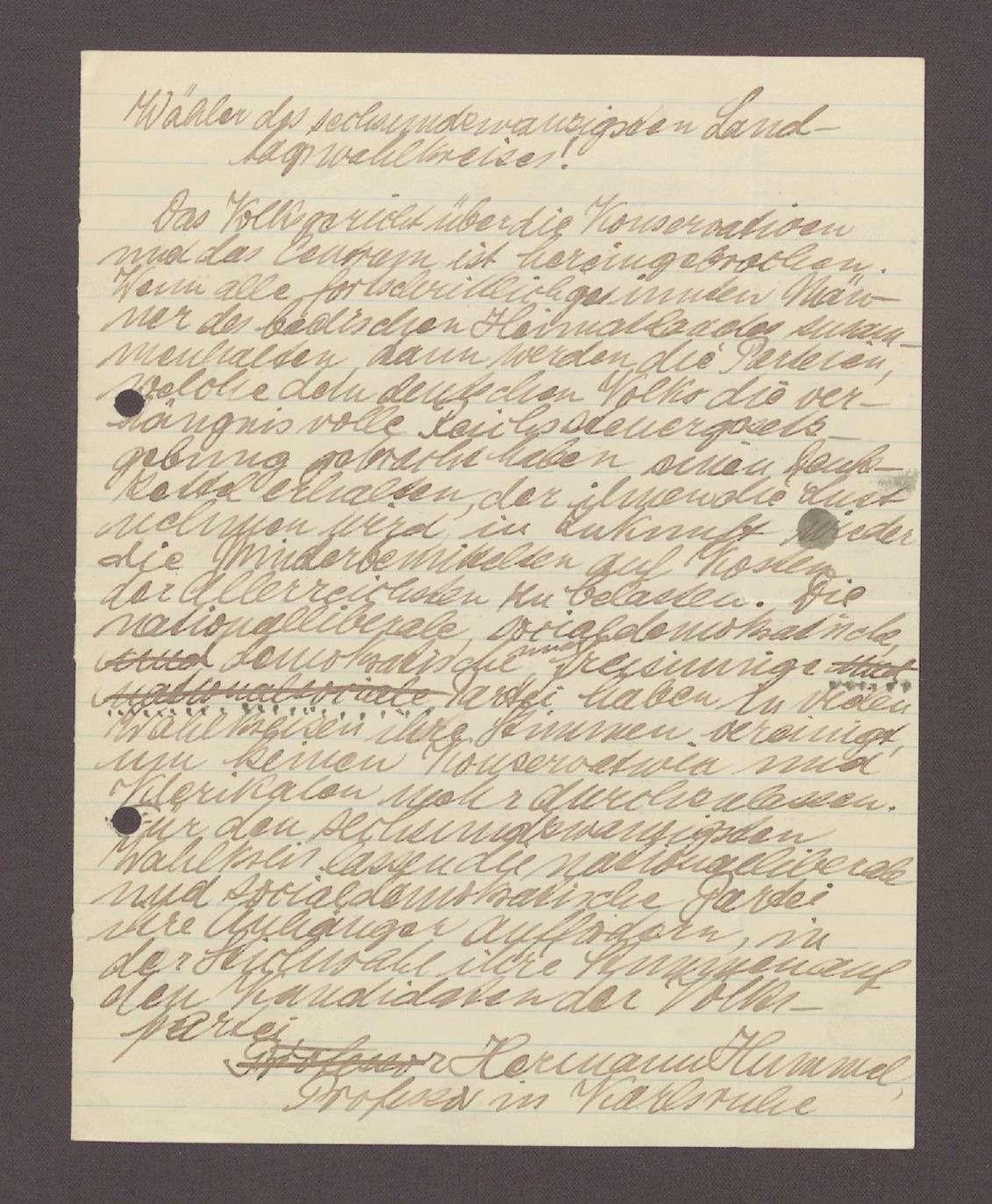 Wahlaufruf für Hermann Hummel, 1 Schreiben (2 Durchschläge), Bild 2