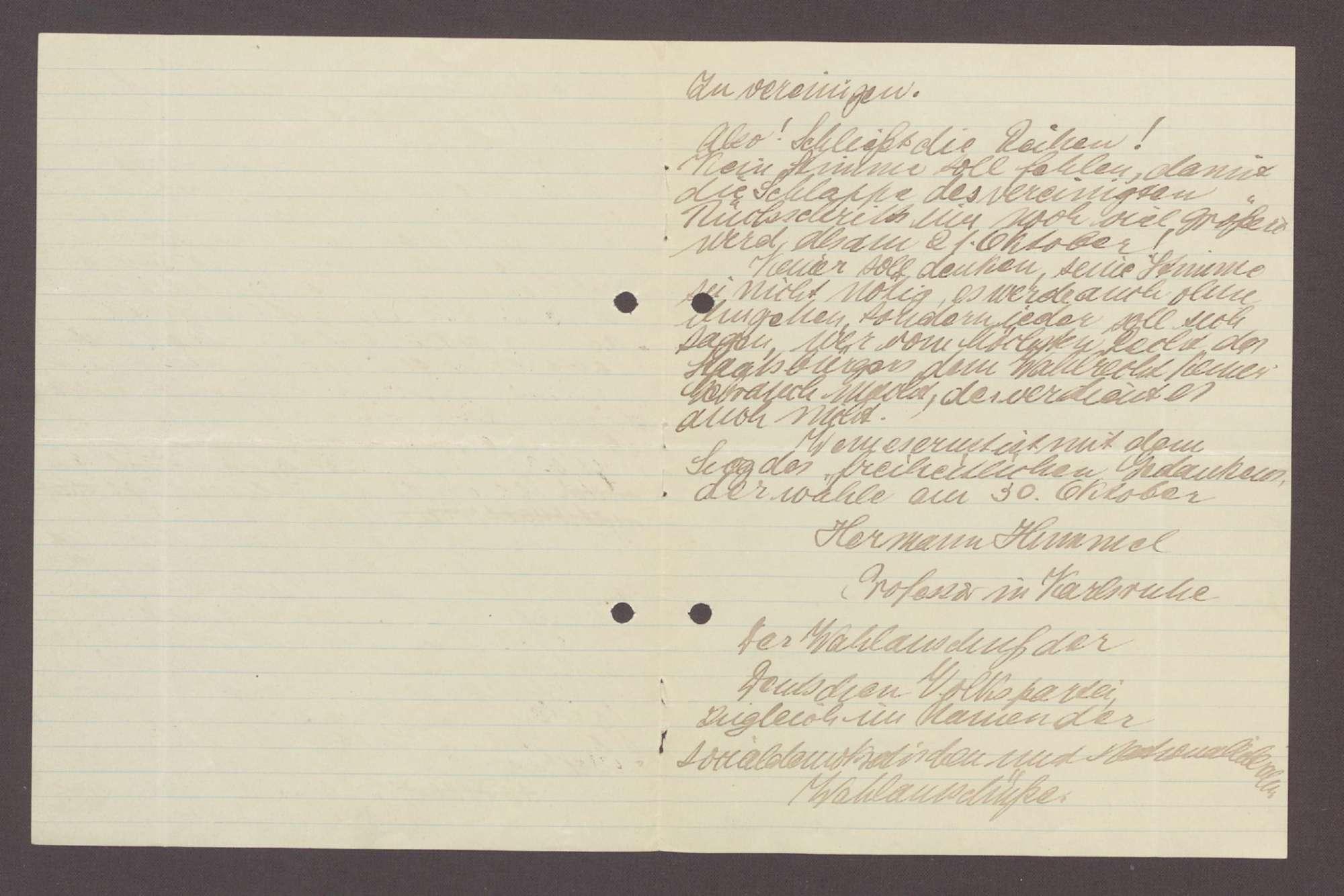 Wahlaufruf für Hermann Hummel, 1 Schreiben (2 Durchschläge), Bild 3