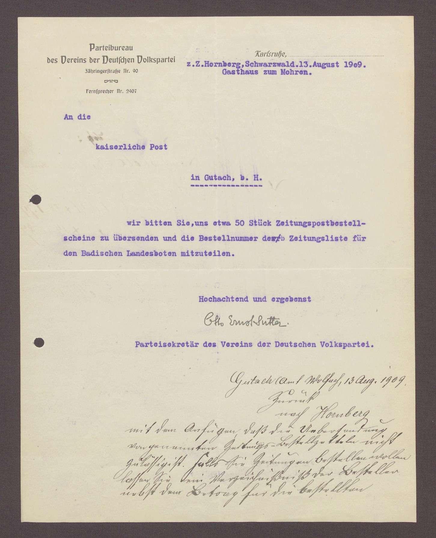 Schreiben von Otto Ernst Sutter, Parteisekretär der DVP, Hornberg, Gasthaus zum Mohren, an die Post in Gutach: Zusendung von Zeitungen und der Bestellnummer des Badischen Landesboten, 1 Schreiben, Bild 1