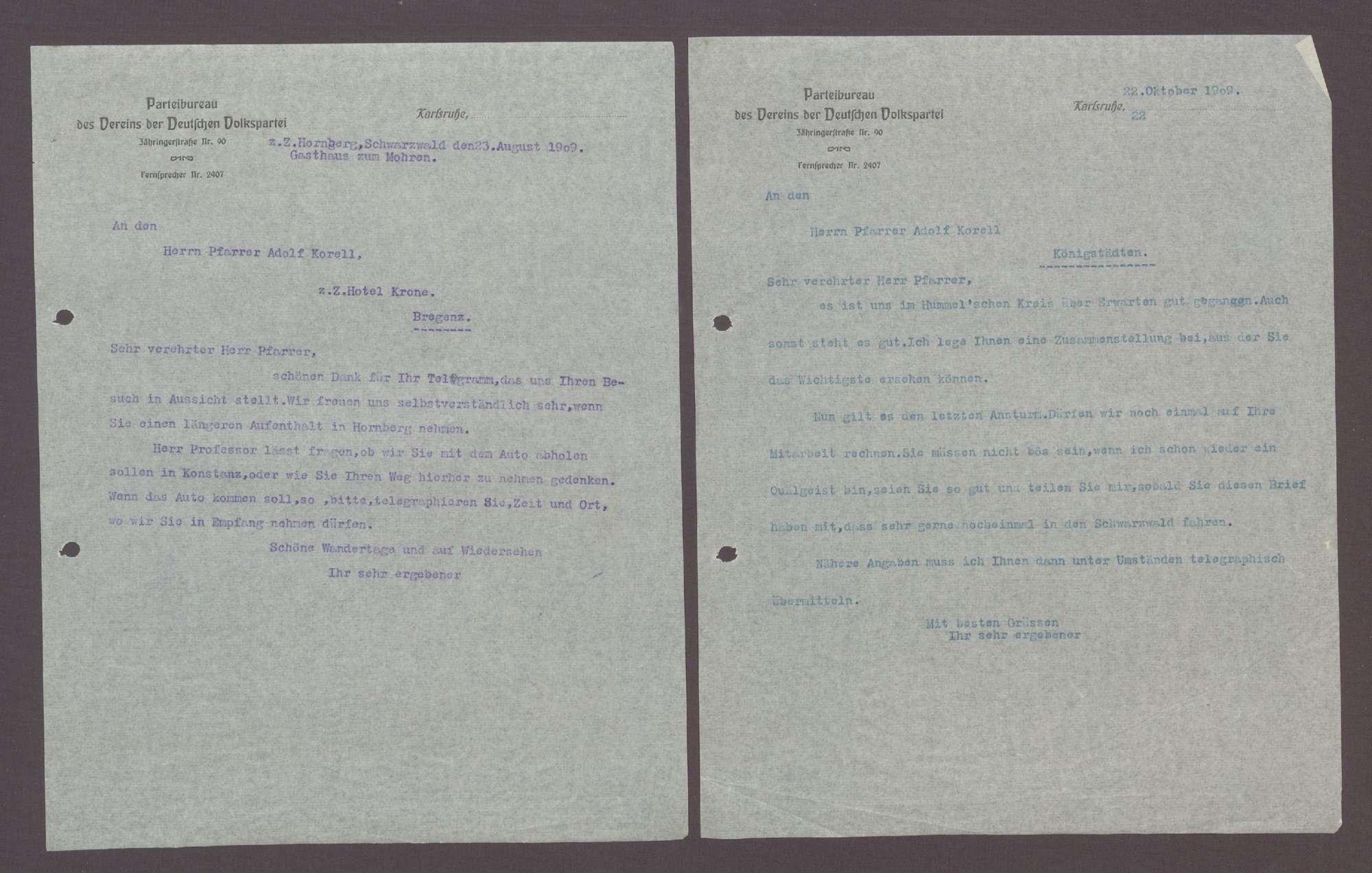 Schreiben von Otto Ernst Sutter an Adolf Korell, Pfarrer, Bregenz: Wahlkampfauftritt im 26. Wahlkreis, 2 Schreiben (Durchschlag), Bild 1
