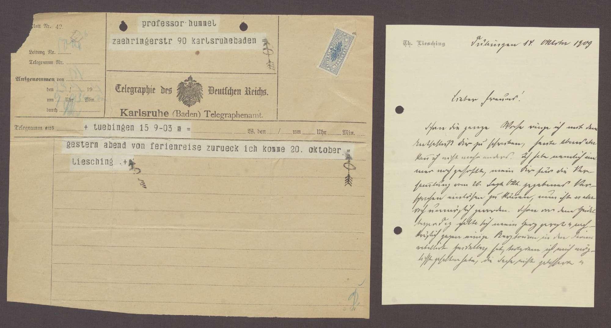 Schreiben von Theodor Liesching, Tübingen, an Hermann Hummel, Karlsruhe: Rückkehr von einer Ferienreise und Auftritt im 26. Wahlkreis, 2 Schreiben, Bild 1