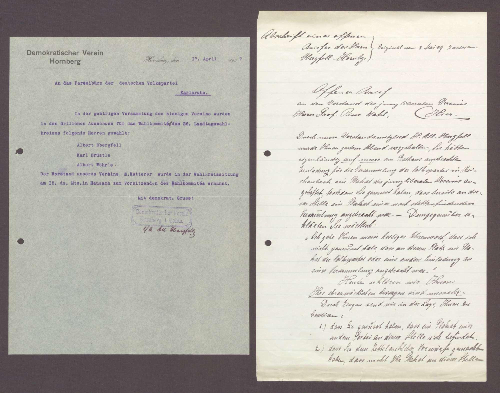 Korrespondenz zwischen Albert Obergfell, Fabrikant, Hornberg, und Hermann Hummel: Wahlkampf in Hornberg, 10 Schreiben, Bild 1