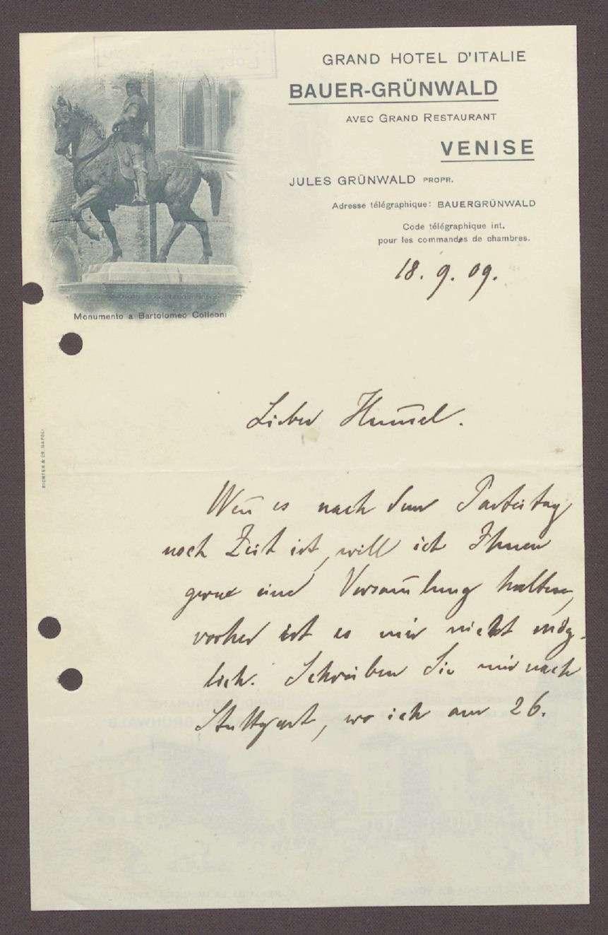 Postkarte von Friedrich Payer, Grand Hotel d