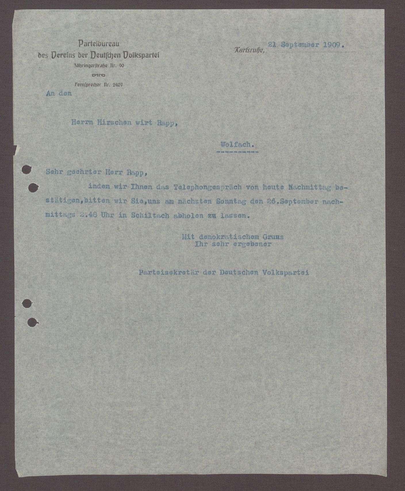 Schreiben von dem Parteisektretär der DVP an Herr Rapp, Gastwirt, Wolfach: Abholen aus des Herrn Sutter aus Schiltach, 1 Schreiben, Bild 1
