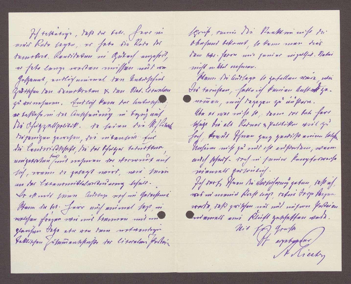 Korrespondenz zwischen Hermann Hummel und A. Riester, Gewerbeschulvorstand, Triberg: Klage über unsachlichen Wahlkampf, 2 Schreiben, Bild 3