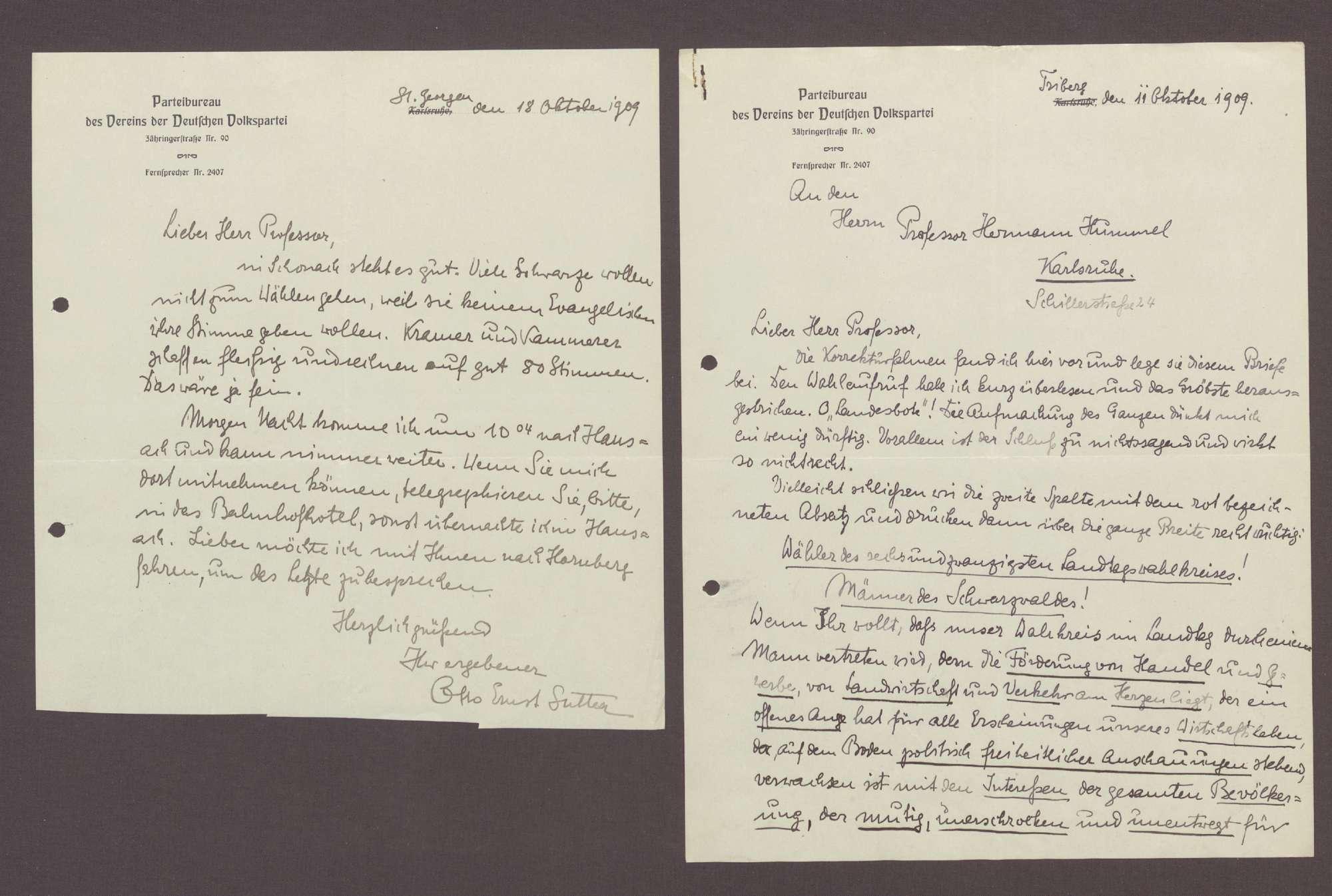 Schreiben von Otto Ernst Sutter, Triberg und St. Georgen, an Hermann Hummel: Wahlkampfreden, 2 Schreiben, Bild 1