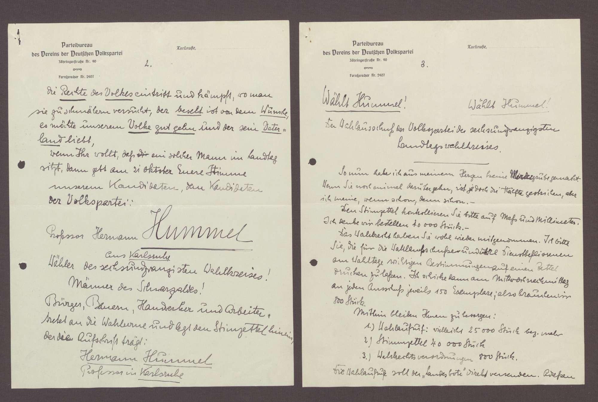 Schreiben von Otto Ernst Sutter, Triberg und St. Georgen, an Hermann Hummel: Wahlkampfreden, 2 Schreiben, Bild 2