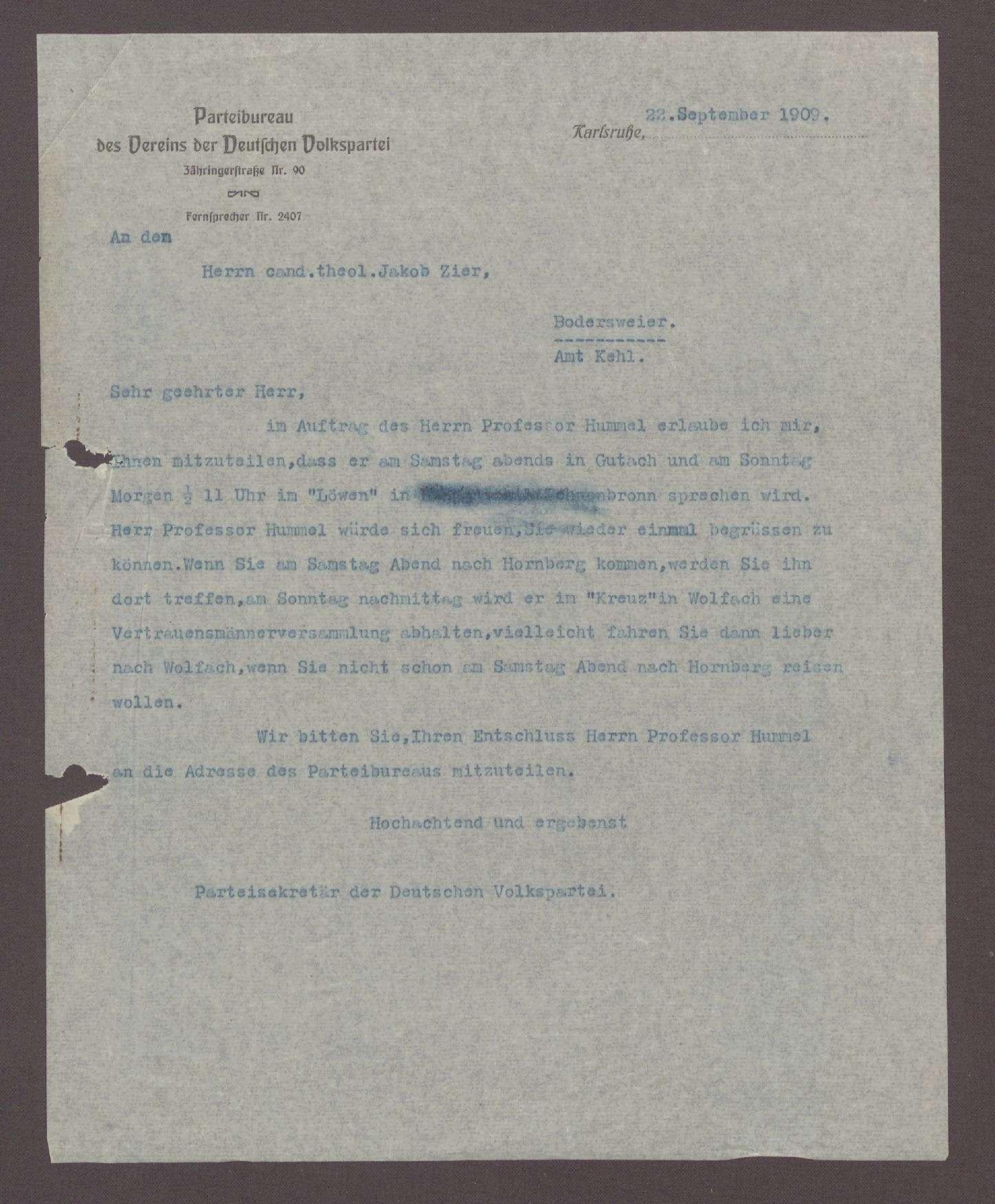 Schreiben von dem Parteisekretär der DVP, Otto Ernst Sutter, an Jakob Zier, Bodersweier: Einladung zu einer Veranstaltung mit Hermann Hummel in Hornberg und Wolfach, 1 Schreiben, Bild 1