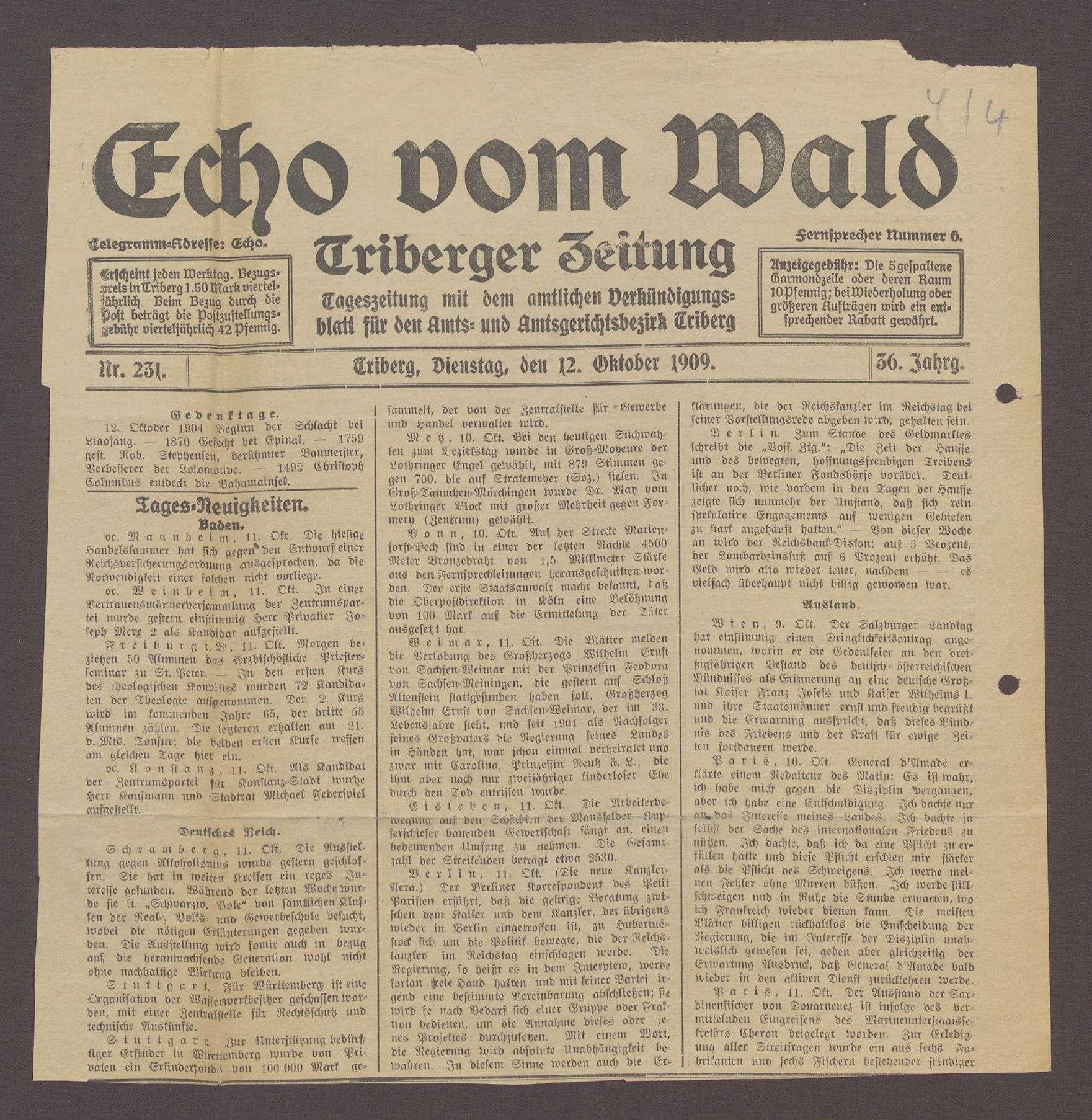 Echo vom Wald - Triberger Zeitung Nr. 231 vom 12.10.1909, Bild 1