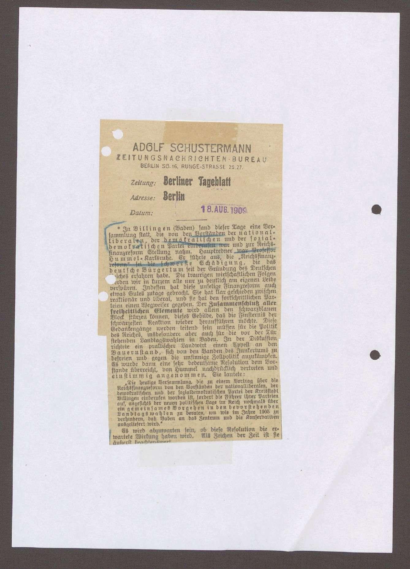 """Berliner Tageblatt vom 18.08.1909, Artikel: """"In Villingen (Baden)..."""", Bild 1"""