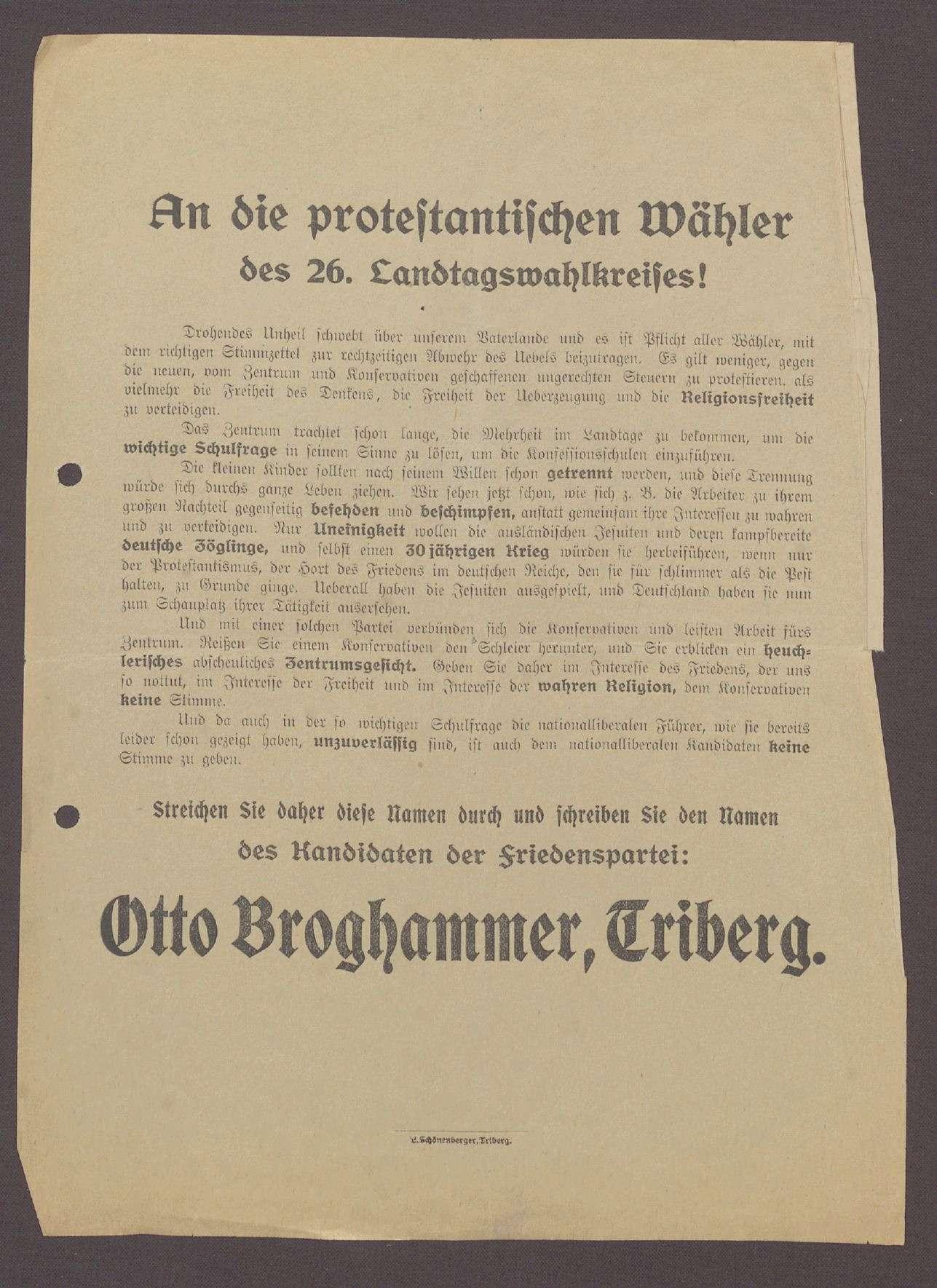 """Flugblatt: """"An die protestantischen Wähler des 26. Landtagswahlkreises...Otto Broghammer"""", Friedenspartei, L. Schönenberger, Triberg, Bild 1"""