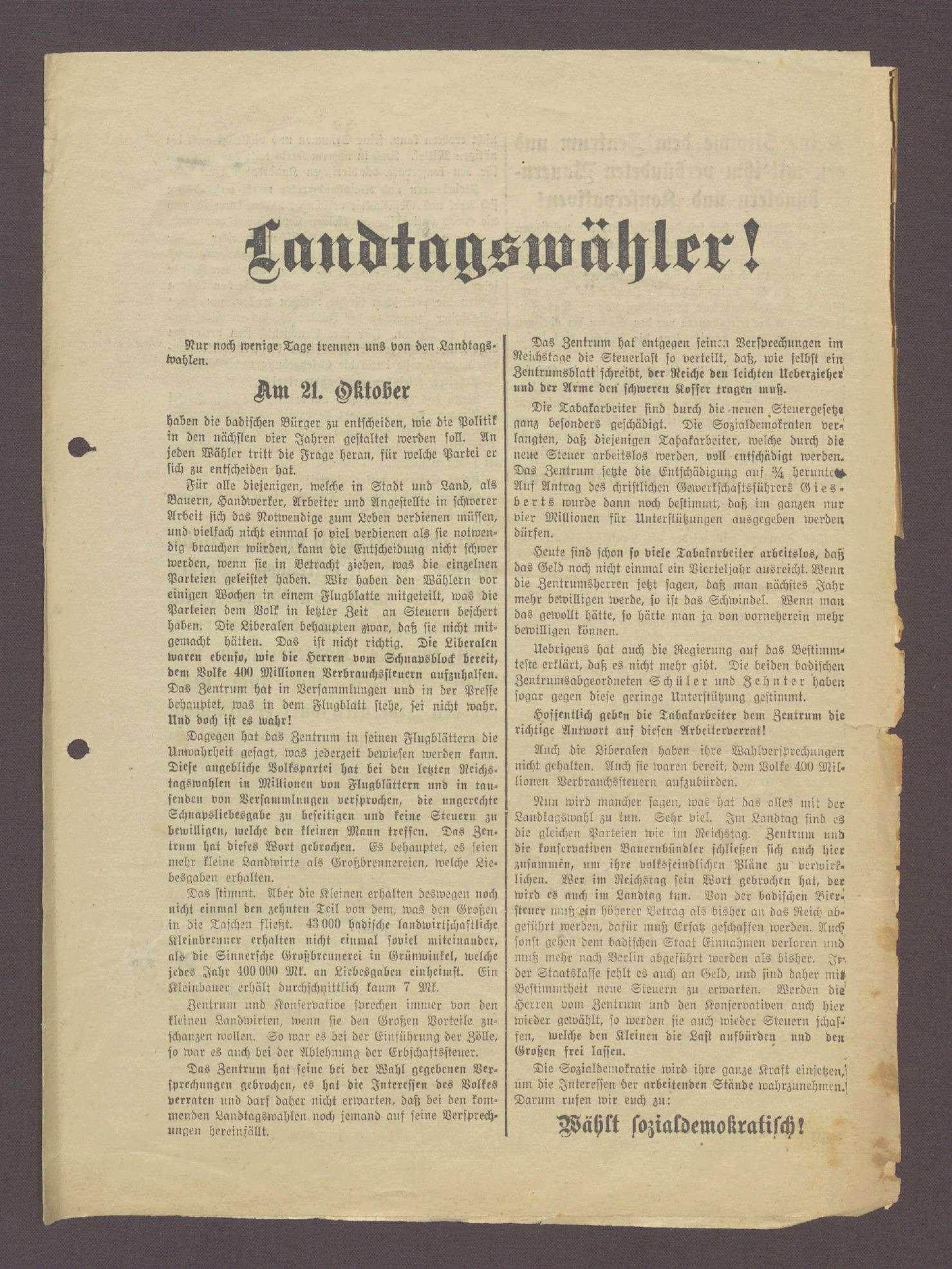 """Flugblatt: """"Landtagswähler! Nur noch wenige Tage...Wählt sozialdemokratisch..."""", Sozialdemokratische Partei, Dr. Ludwig Frank, Buchdruckerei Geck und Gie, Mannheim, Bild 1"""