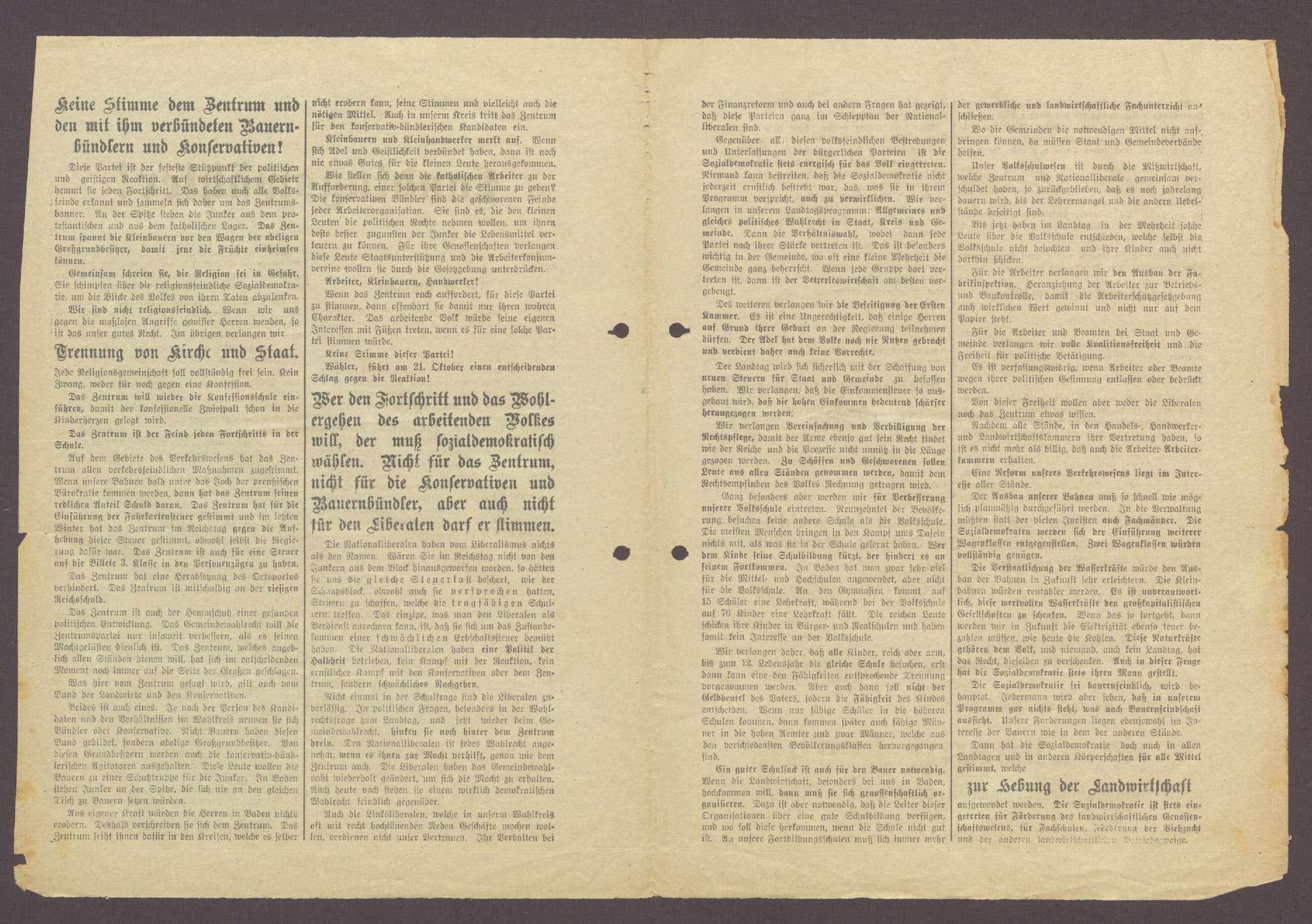 """Flugblatt: """"Landtagswähler! Nur noch wenige Tage...Wählt sozialdemokratisch..."""", Sozialdemokratische Partei, Dr. Ludwig Frank, Buchdruckerei Geck und Gie, Mannheim, Bild 2"""