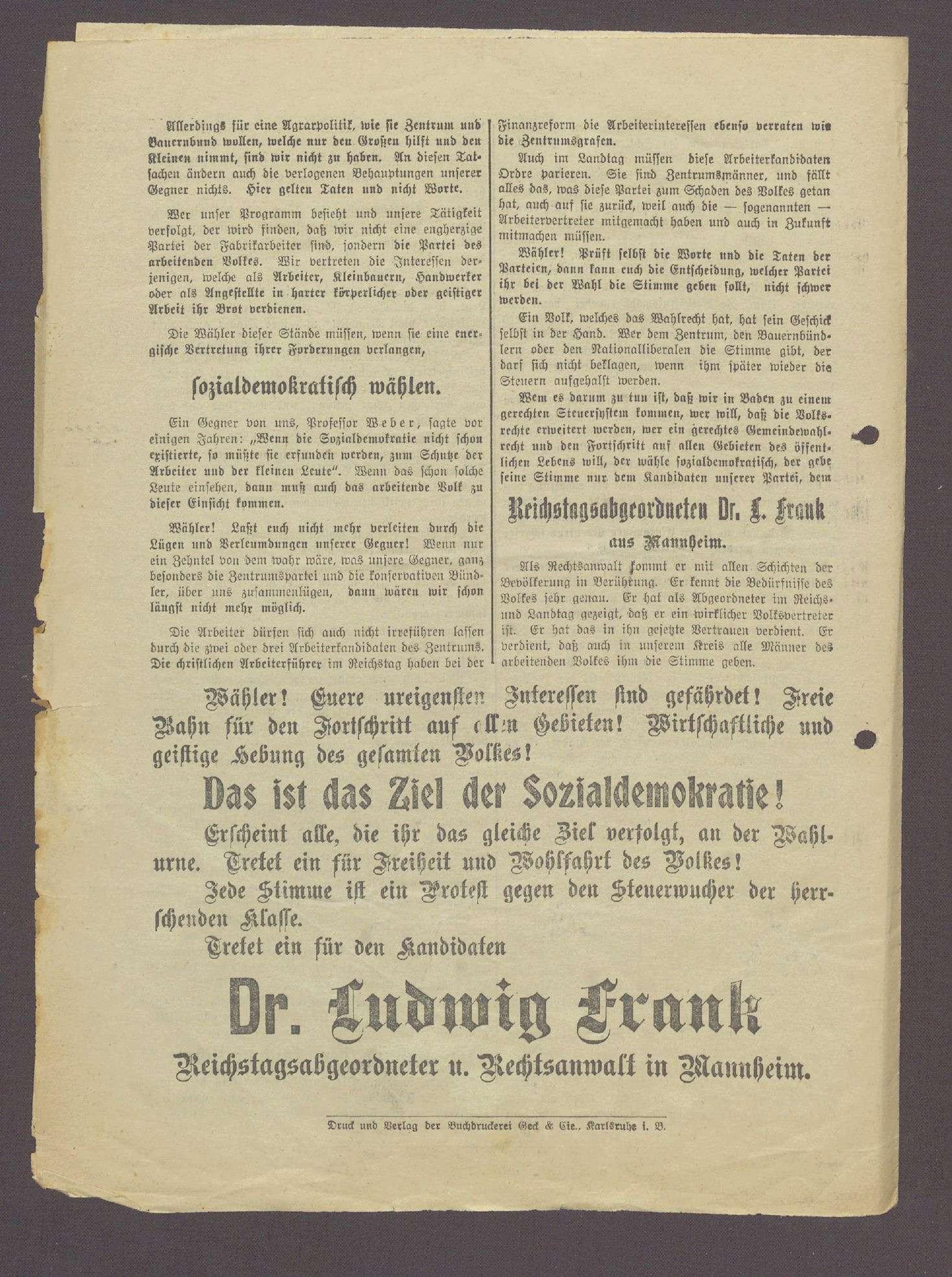 """Flugblatt: """"Landtagswähler! Nur noch wenige Tage...Wählt sozialdemokratisch..."""", Sozialdemokratische Partei, Dr. Ludwig Frank, Buchdruckerei Geck und Gie, Mannheim, Bild 3"""