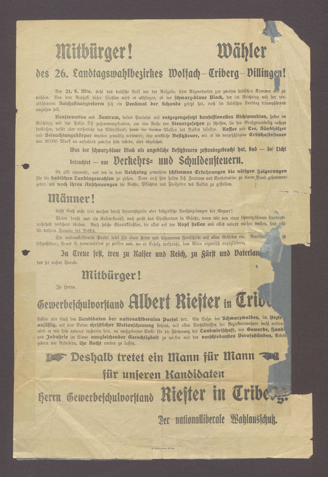 """Wahlplakat: """"Mitbürger! Wähler des 26. Landtagswahlbezirks Wolfach...Riester..."""", Nationalliberale Partei, Schönenberger, Triberg, Bild 1"""