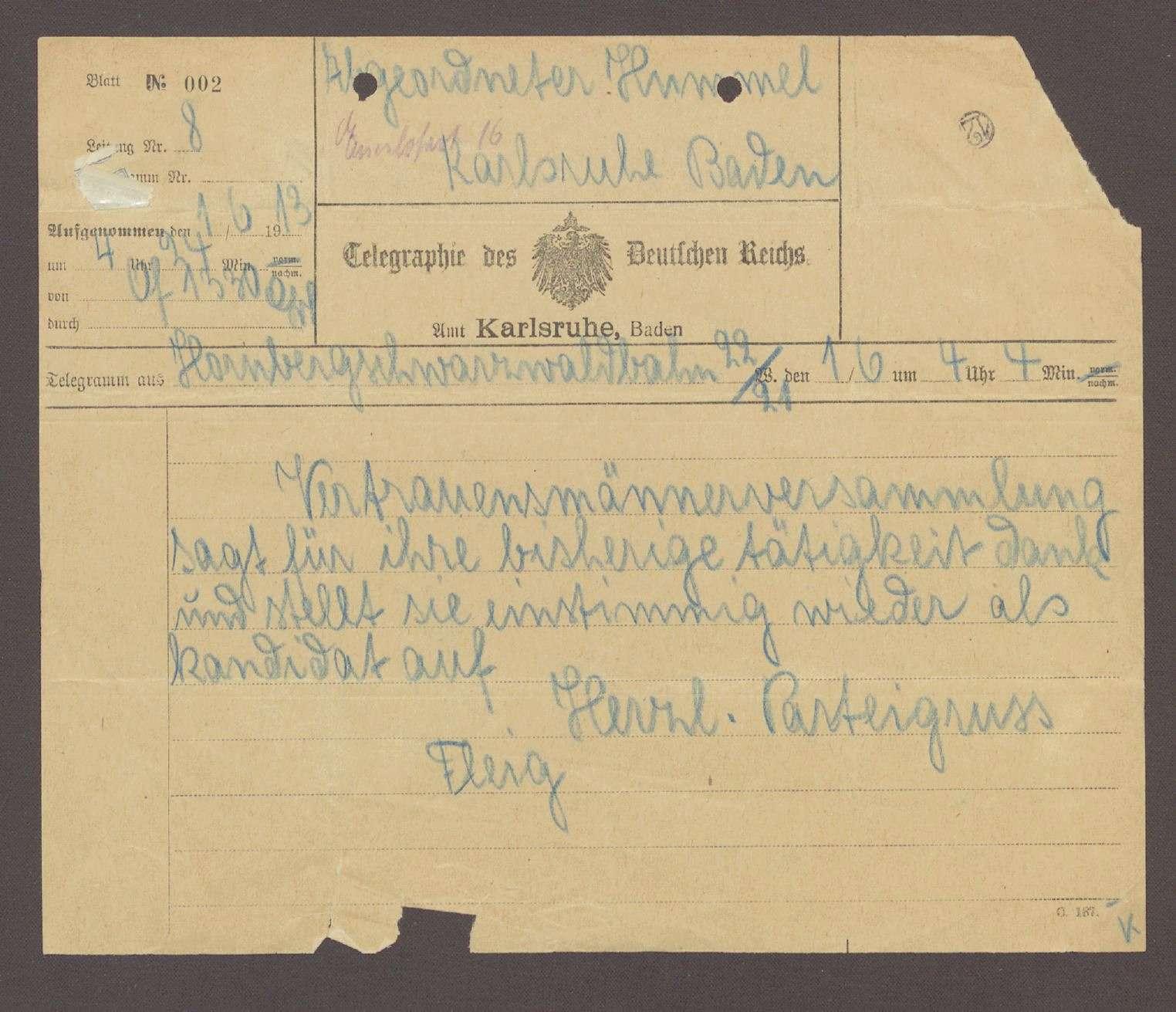 Telegramm von Oskar Fleig, Triberg, an Hermann Hummel, 1 Telegramm Unterstützung der Wahlmänner für Hermann Hummel, Bild 1