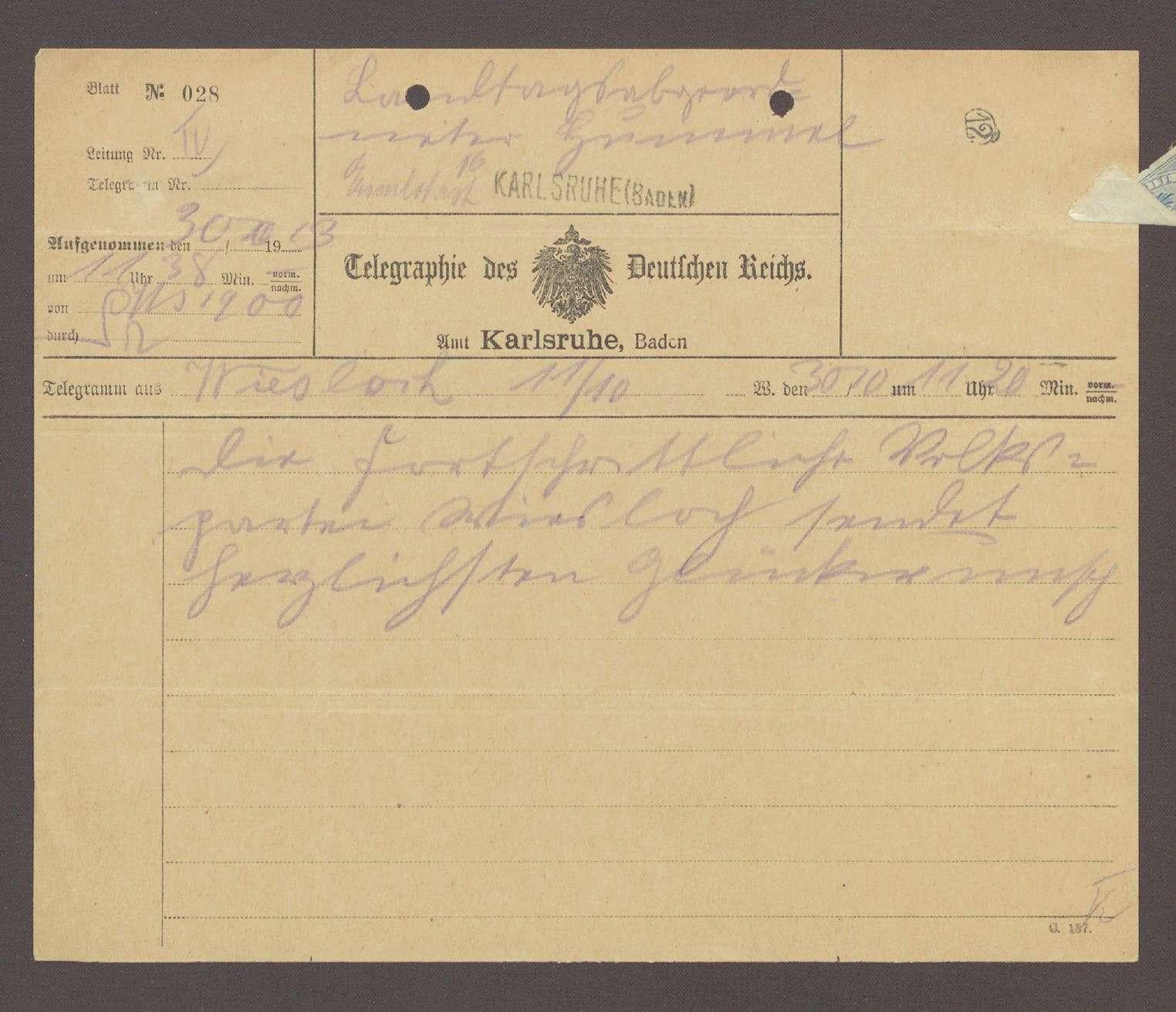 Glückwunschtelegramm der Fortschrittlichen Volkspartei, Wiesloch, an Hermann Hummel, 1 Telegramm, Bild 1