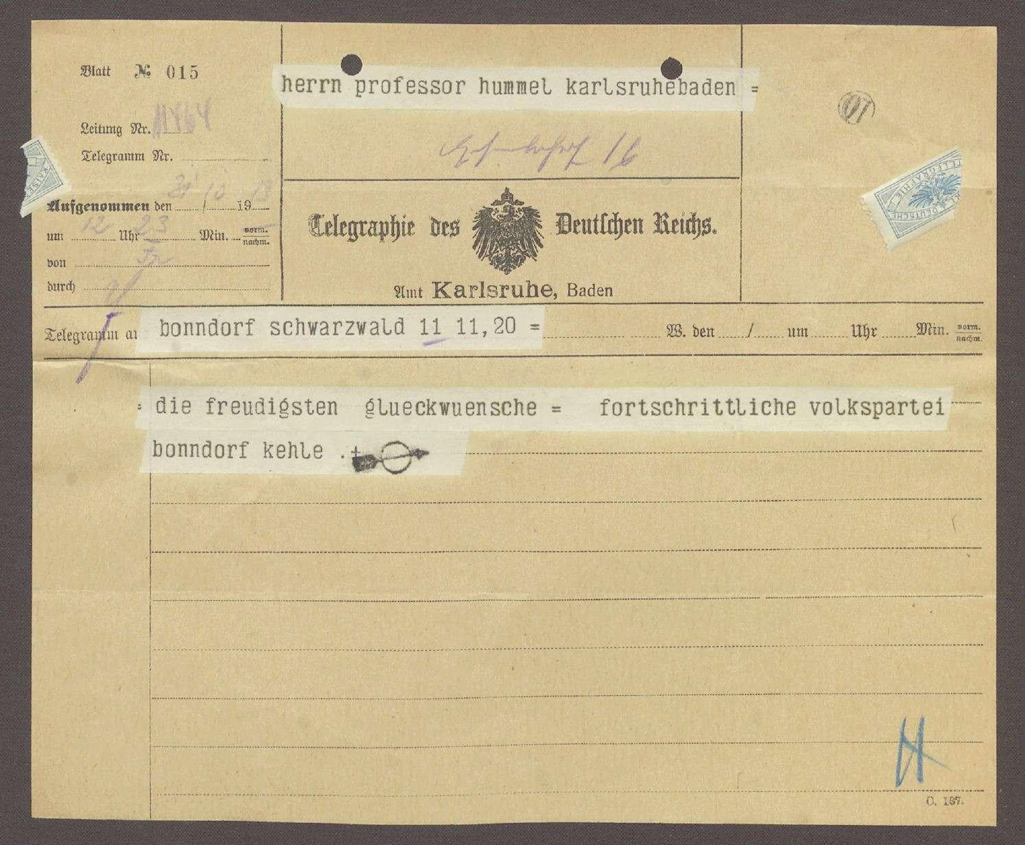 Glückwunschtelegramm von Herrn Kehle, Fortschrittliche Volkspartei, Bonndorf, an Hermann Hummel, 1 Telegramm, Bild 1