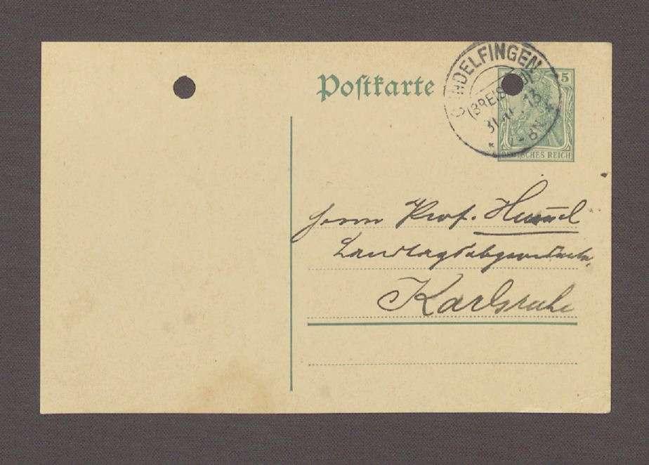 Glückwunschpostkarte von A. Hink, Gundelfingen, an Hermann Hummel, 1. Postkarte, Bild 1