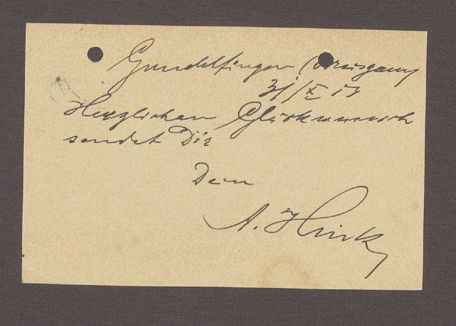 Glückwunschpostkarte von A. Hink, Gundelfingen, an Hermann Hummel, 1. Postkarte, Bild 2