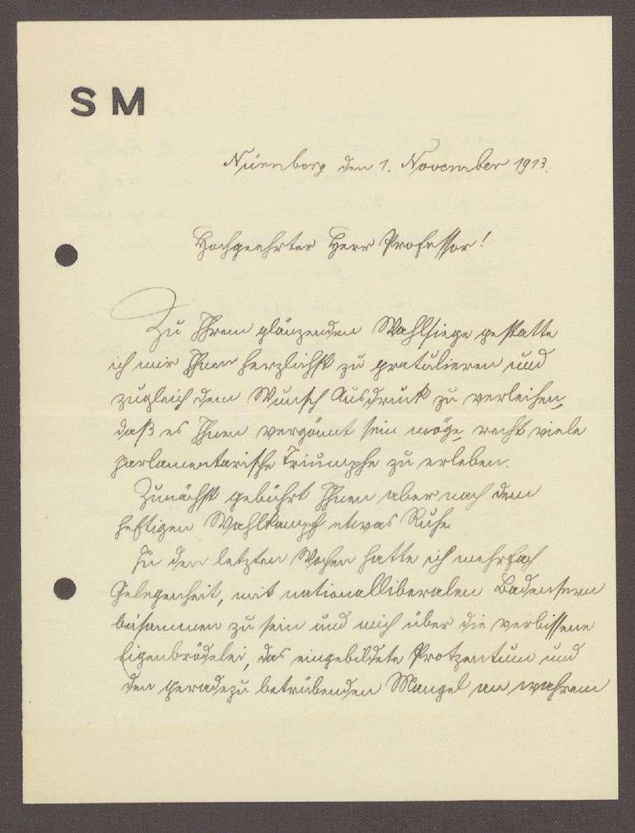 Glückwunschschreiben von Herrn Merzbacher, Rechtsanwalt, Nürnberg, an Hermann Hummel, 1 Schreiben, Bild 1