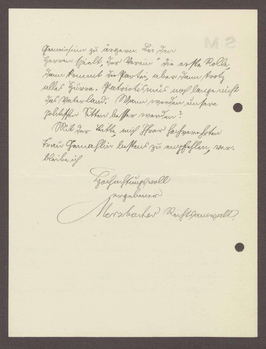 Glückwunschschreiben von Herrn Merzbacher, Rechtsanwalt, Nürnberg, an Hermann Hummel, 1 Schreiben, Bild 2