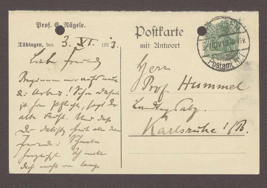 Glückwunschpostkarte von Eugen Nägele, Professor, Tübingen, an Hermann Hummel, 1 Postkarte, Bild 1