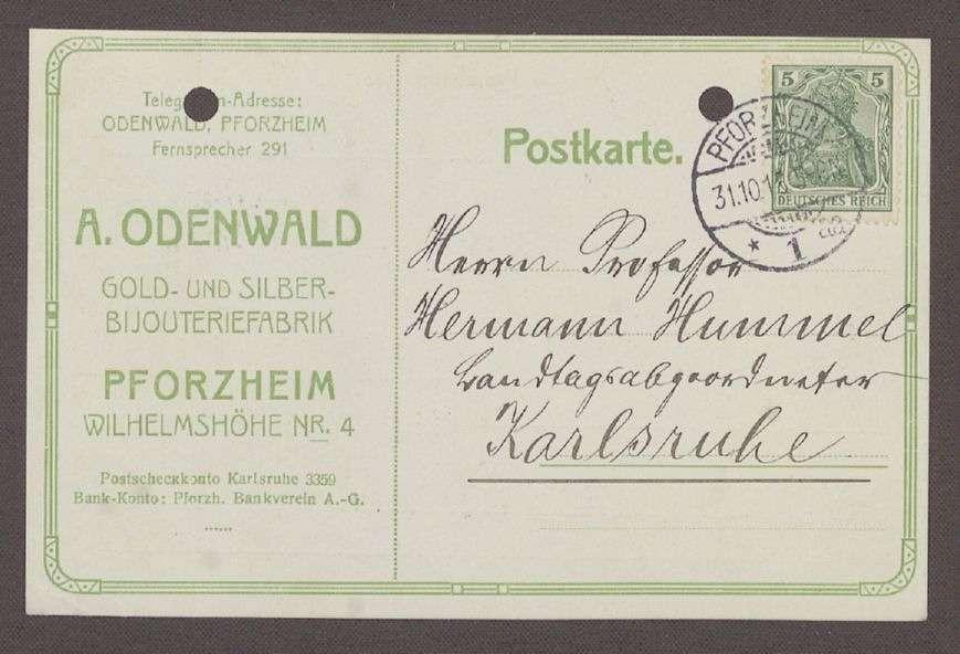 Glückwunschpostkarte von Andreas Odenwald, Gold- und Silber-Bijouteriefabrikant, Pforzheim, an Hermann Hummel, 1 Postkarte, Bild 1