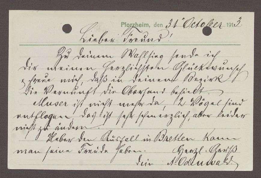 Glückwunschpostkarte von Andreas Odenwald, Gold- und Silber-Bijouteriefabrikant, Pforzheim, an Hermann Hummel, 1 Postkarte, Bild 2