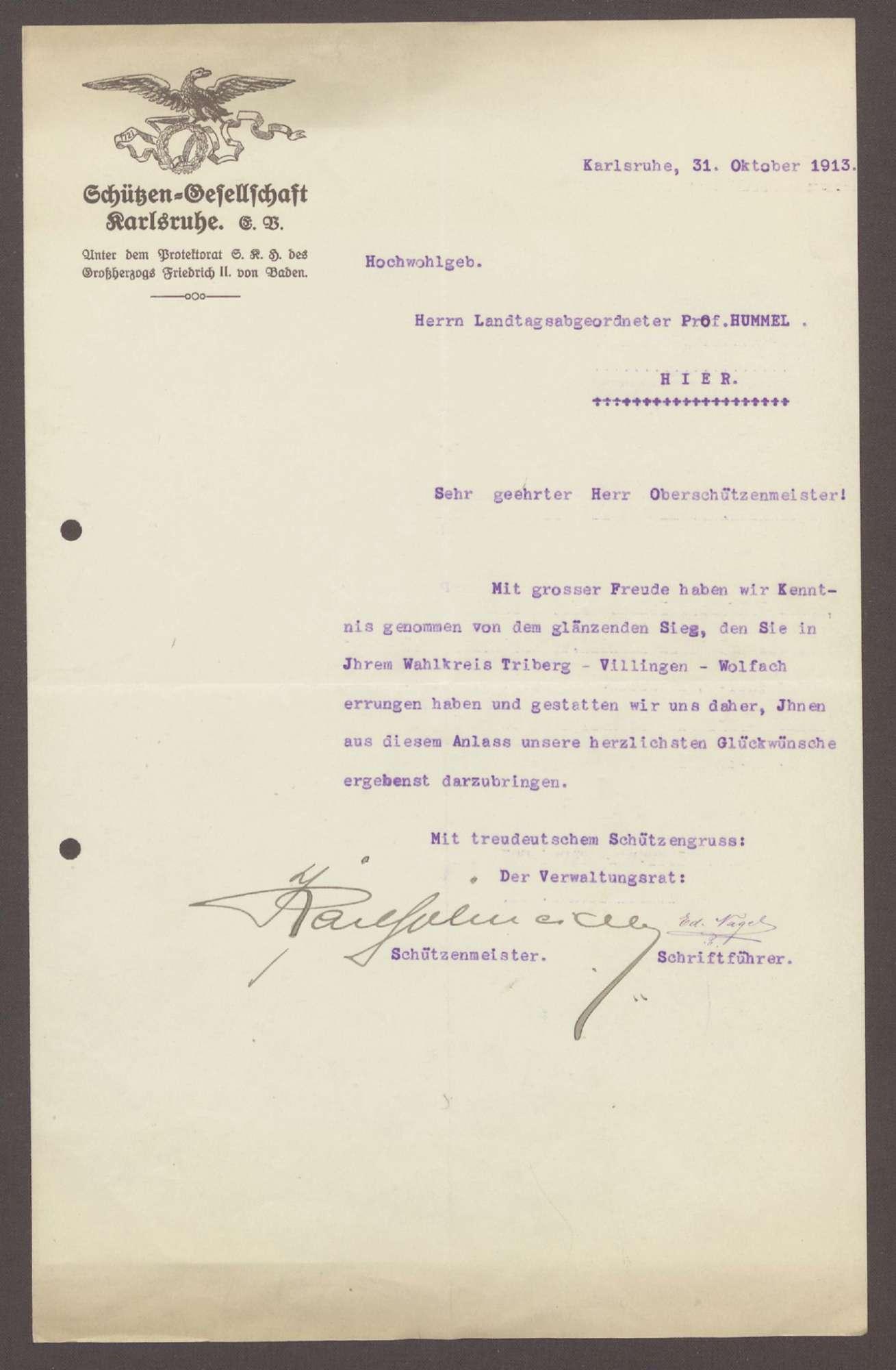 Glückwunschschreiben von der Schützengesellschaft Karlsruhe, an Heinrich Hummel, 1 Schreiben, Bild 1