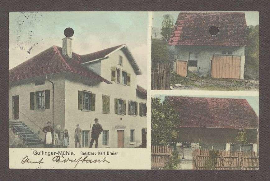 Glückwunschpostkarte mit einem Motiv der Gailinger Mühle von Karl Dreier an Hermann Hummel, 1 Postkarte, Bild 1