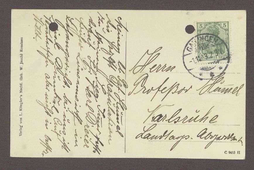 Glückwunschpostkarte mit einem Motiv der Gailinger Mühle von Karl Dreier an Hermann Hummel, 1 Postkarte, Bild 2