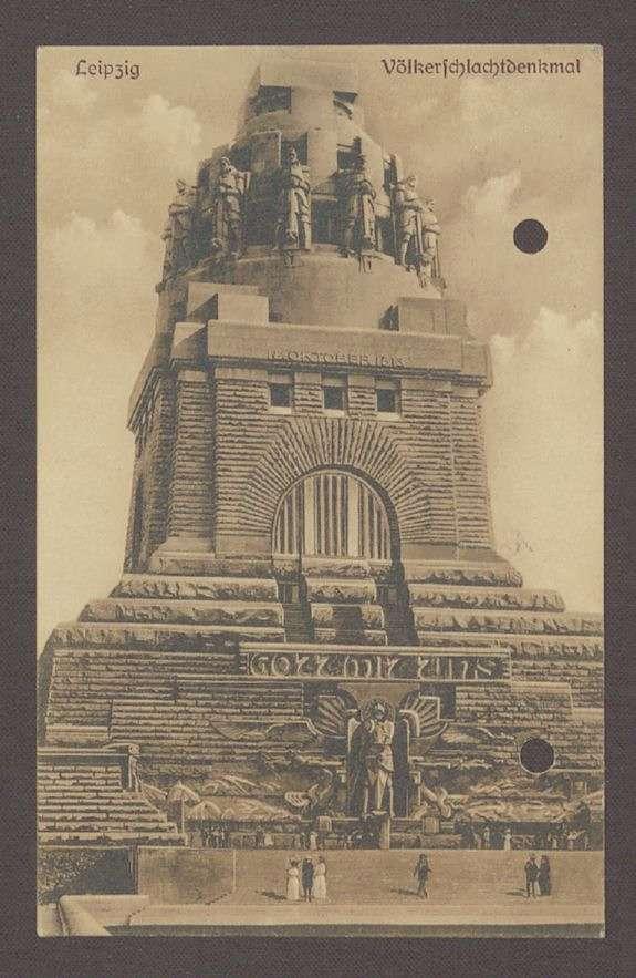 Glückwunschpostkarte mit diversen Unterschriften und Motiv des Völkerschlachtdenkmals in Leipzig an Hermann Hummel, 1 Postkarte, Bild 1