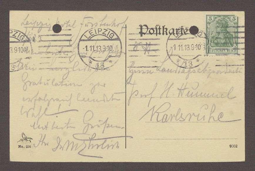 Glückwunschpostkarte mit diversen Unterschriften und Motiv des Völkerschlachtdenkmals in Leipzig an Hermann Hummel, 1 Postkarte, Bild 2