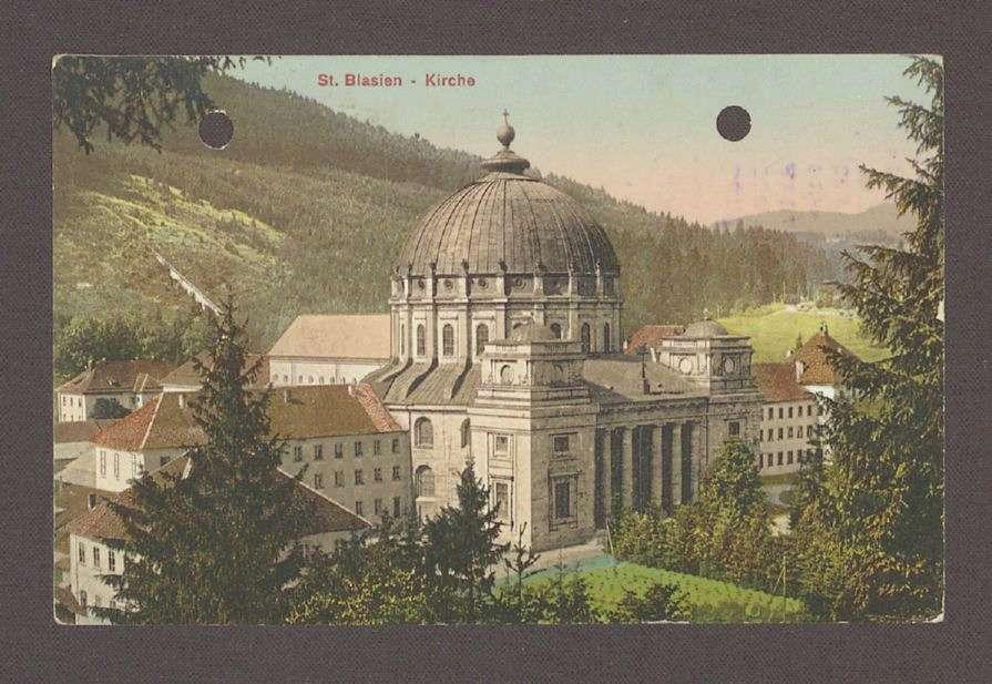 Glückwunschpostkarte mit diversen Unterschriften und dem Motiv des Doms St. Blasius in St. Blasien, verschiedene Unterschriften, an Hermann Hummel, 1 Postkarte, Bild 1