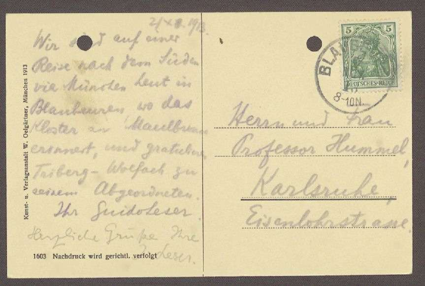 Glückwunschpostkarte mit einem Motiv aus Blaubeuren von Guido Leser an Hermann Hummel, 1 Postkarte, Bild 2