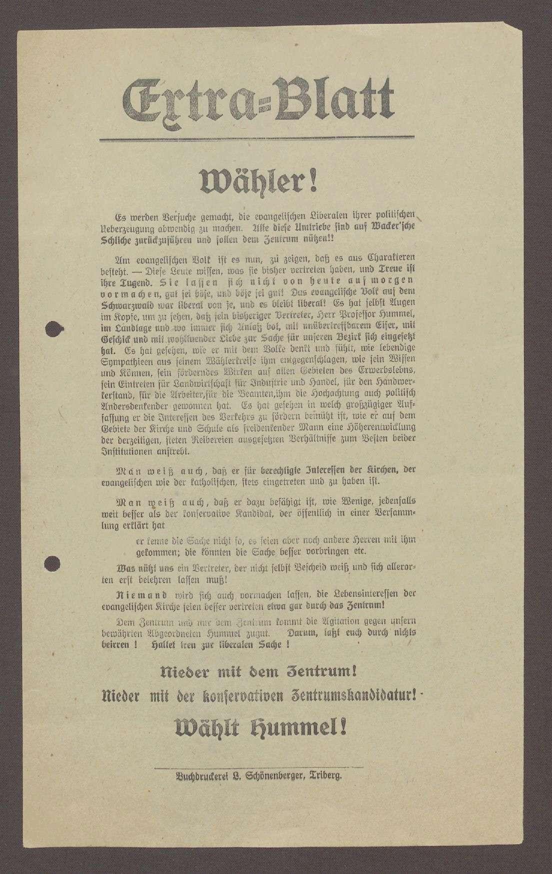 """Flugblatt: """"Extra-Blatt. Wähler!...Wählt Hummel!"""", Fortschrittliche Volkspartei, Buchdruckerei L. Schönenberger, Triberg, Bild 1"""