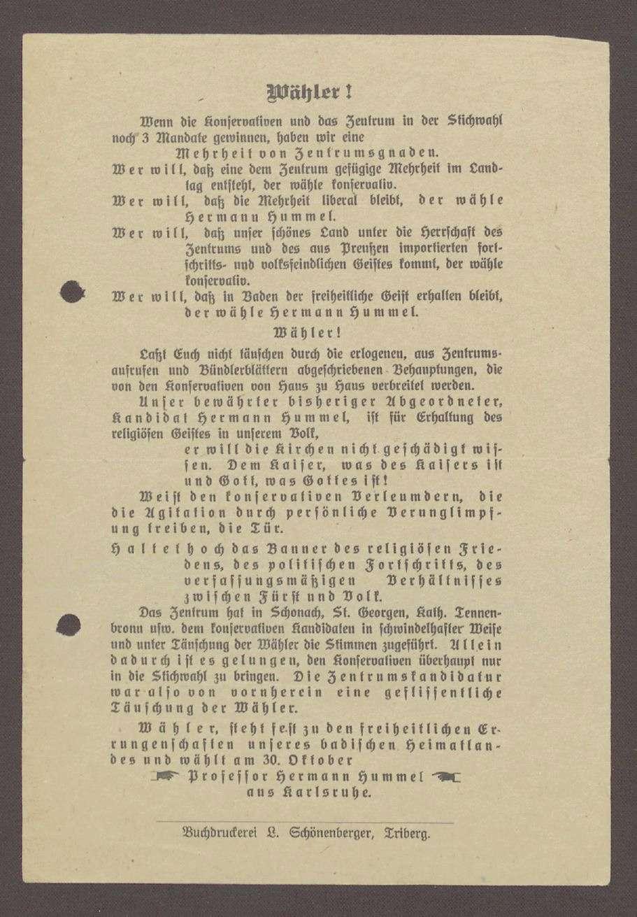 """Flugblatt: """"Wähler! Wenn die Konservativen... Professor Hermann Hummel"""", Fortschrittliche Volkspartei, 1913, Buchdruckei L Schönenberger, Triberg, Bild 1"""