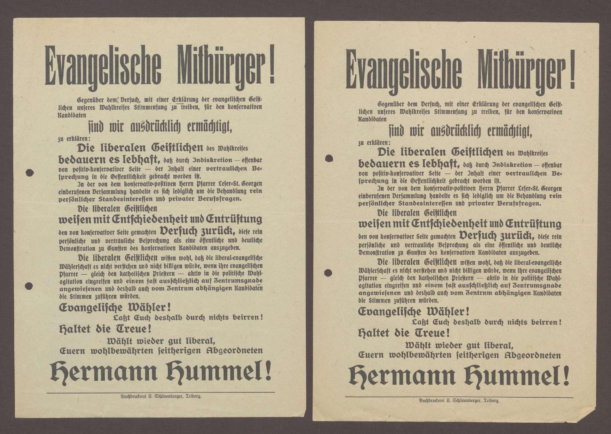 """Flugblatt: """"Evangelische Mitbürger! Gegenüber dem Versuch...Hermann Hummel!"""", Fortschrittliche Volkspartei, 1913, Buchdruckerei L. Schönenberger, Triberg, Bild 1"""