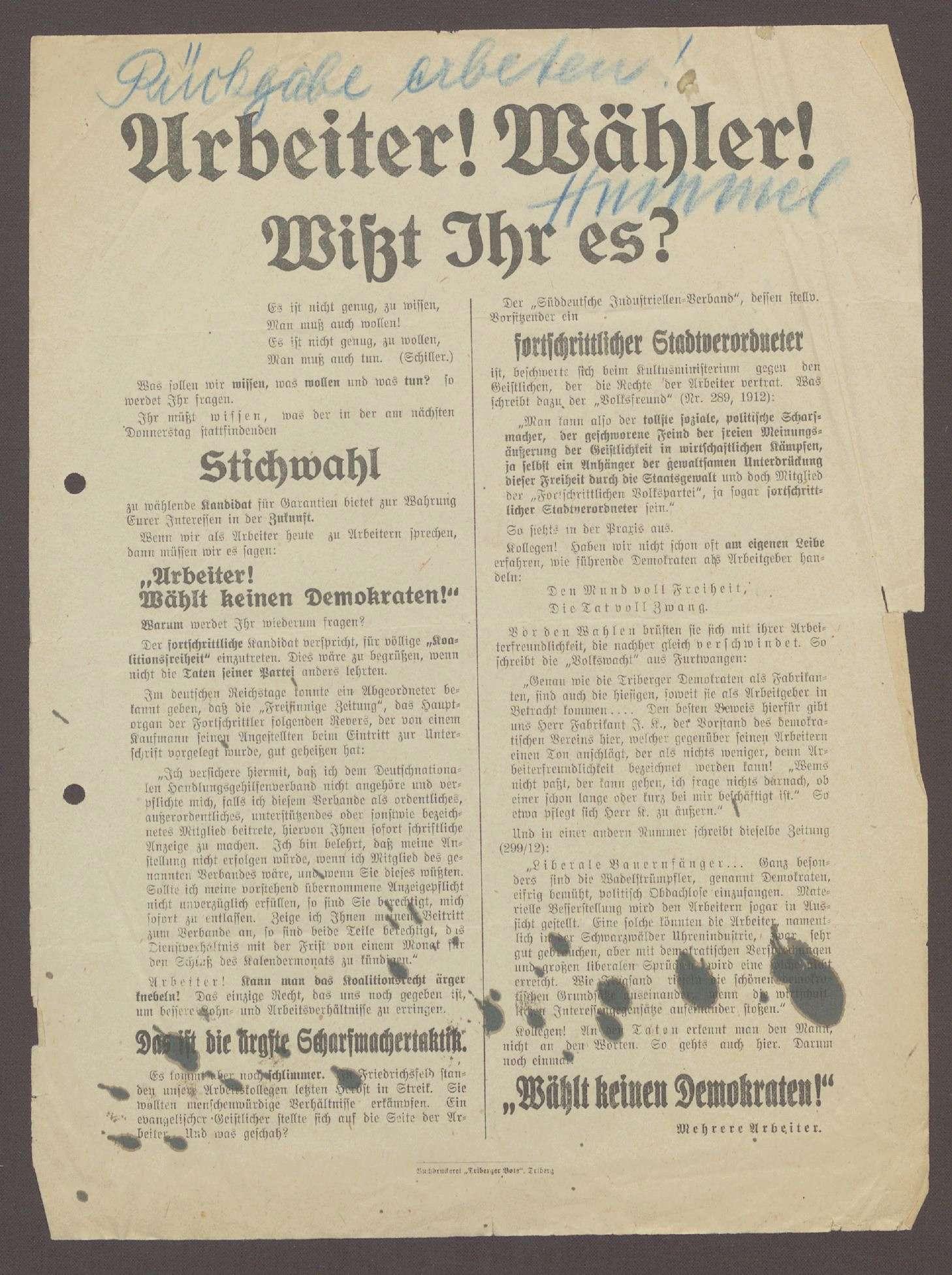 """Flugblatt: """"Arbeiter! Wähler! Wißt Ihr es?..."""", Mehrere Arbeiter, 1913, Triberger Bote, Triberg, Bild 1"""